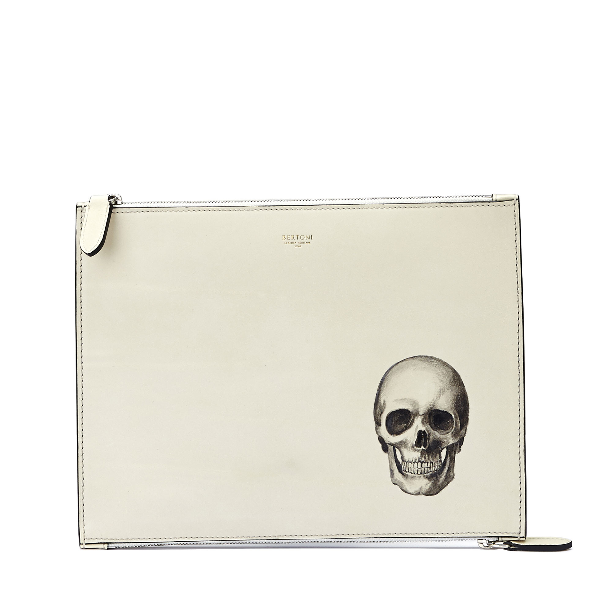 The Ivory with skull french calf Zip Pouch by Bertoni 1949 01