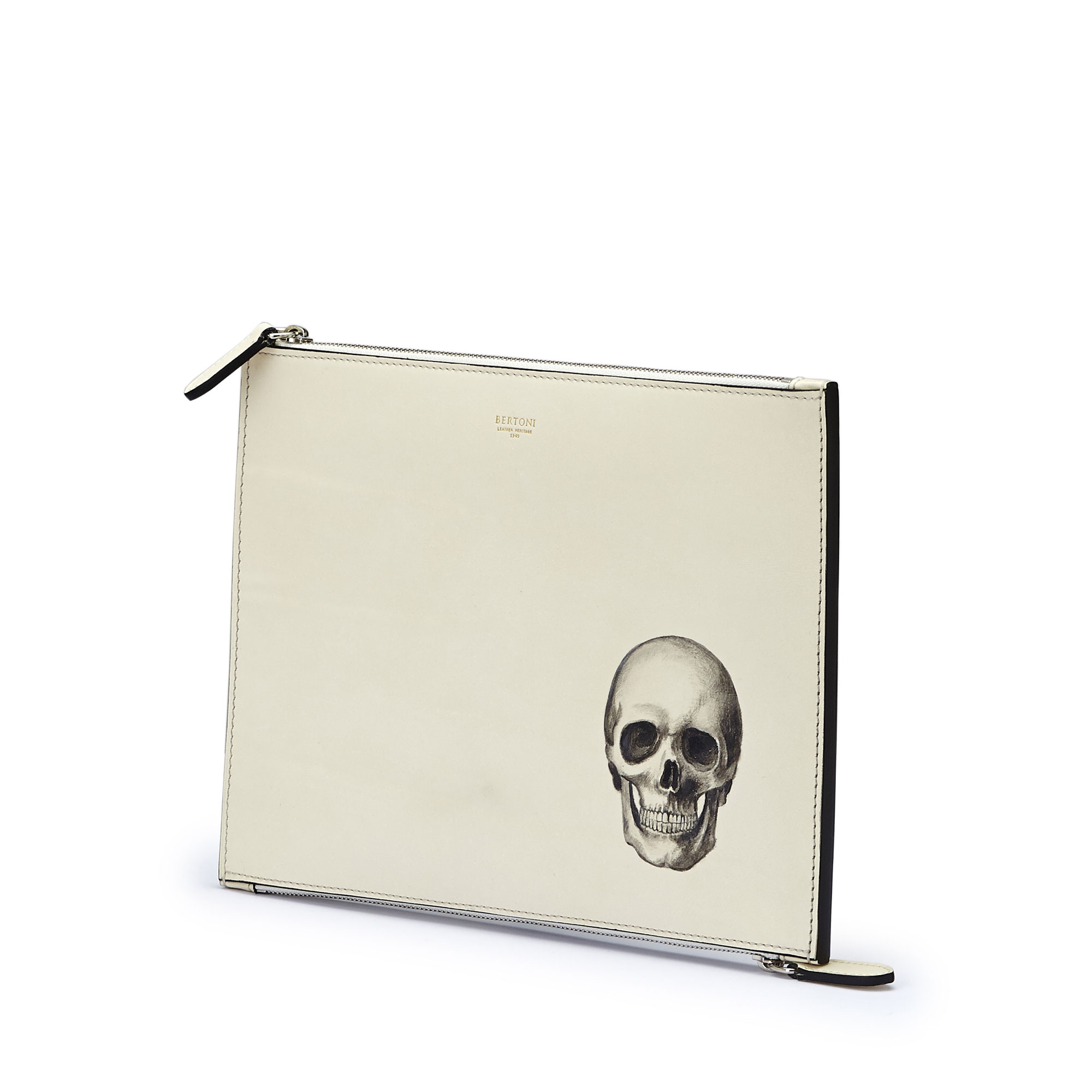 The Ivory with skull french calf Zip Pouch by Bertoni 1949 02