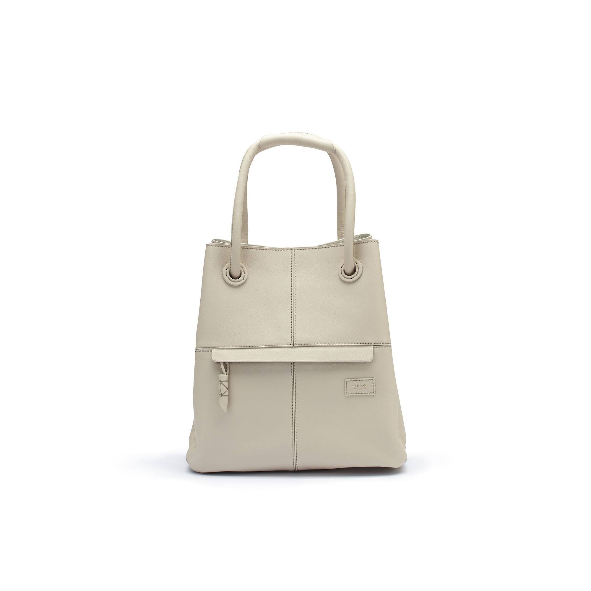The Ivory soft calf Satchel bag by Bertoni 1949 01