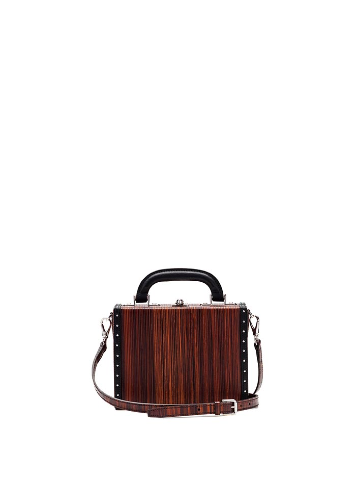 The leather color french calf, wood leather Mini Squared Bertoncina bag by Bertoni 1949