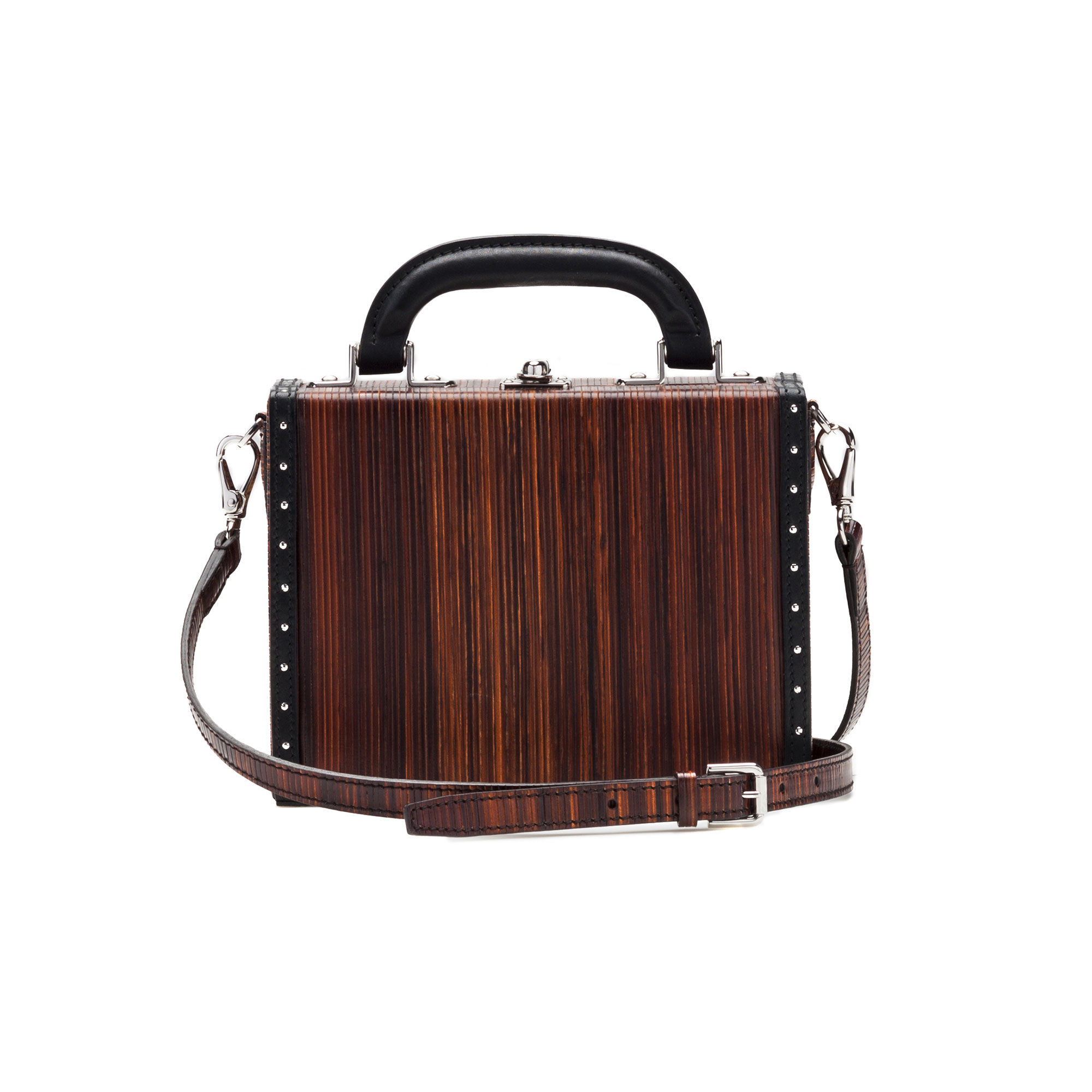 The leather color french calf, wood leather Mini Squared Bertoncina bag by Bertoni 1949 03