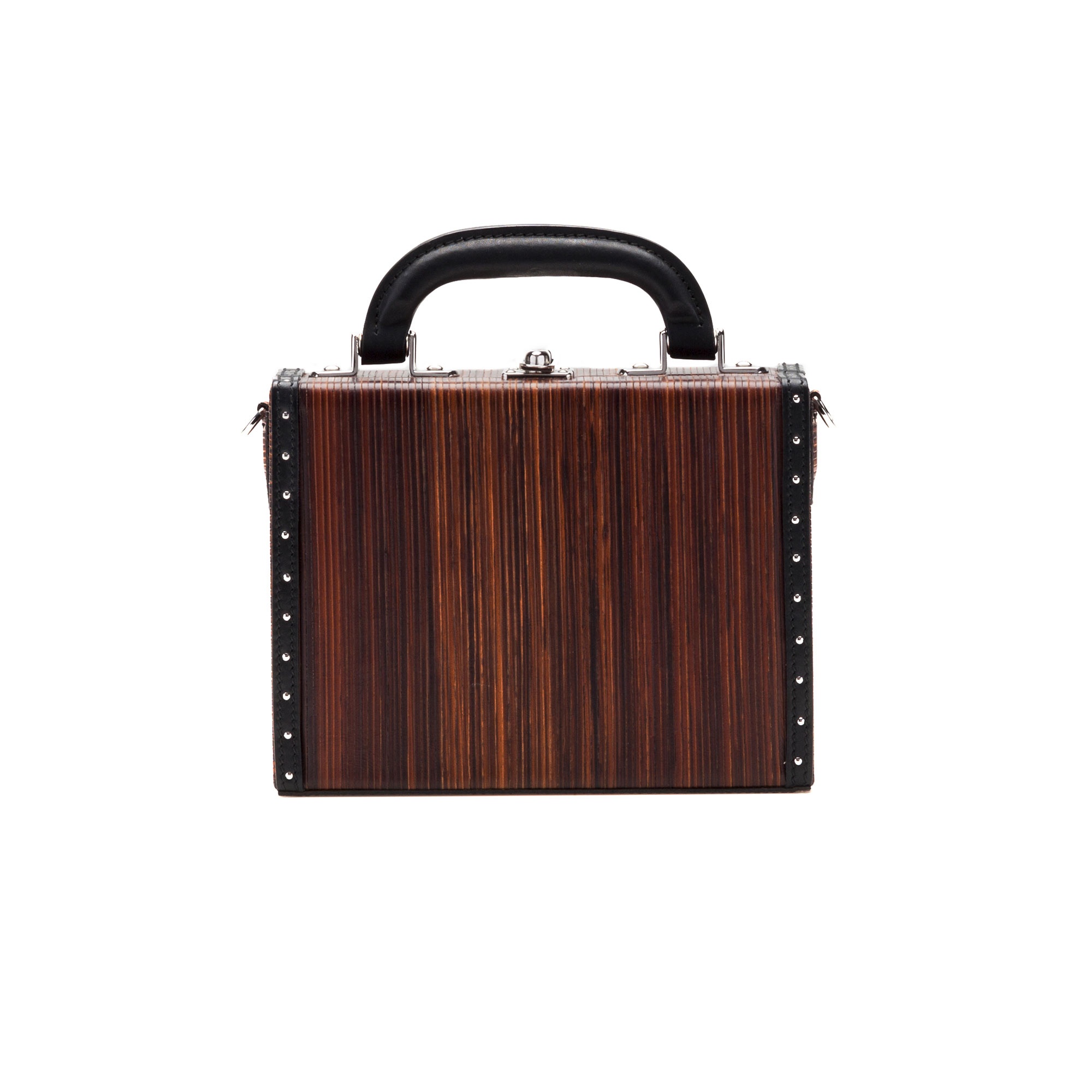 The leather color french calf, wood leather Mini Squared Bertoncina bag by Bertoni 1949 01