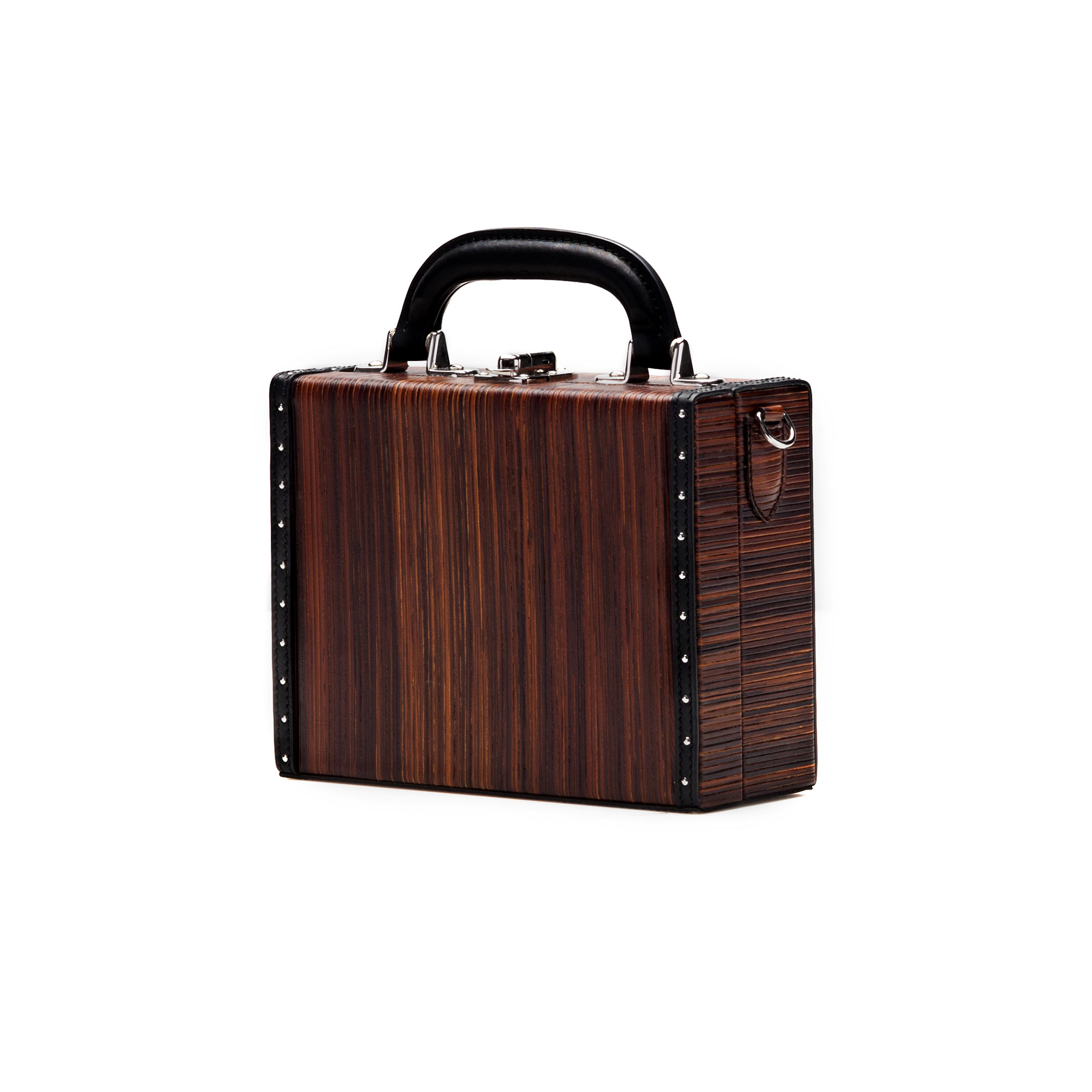 The leather color french calf, wood leather Mini Squared Bertoncina bag by Bertoni 1949 02