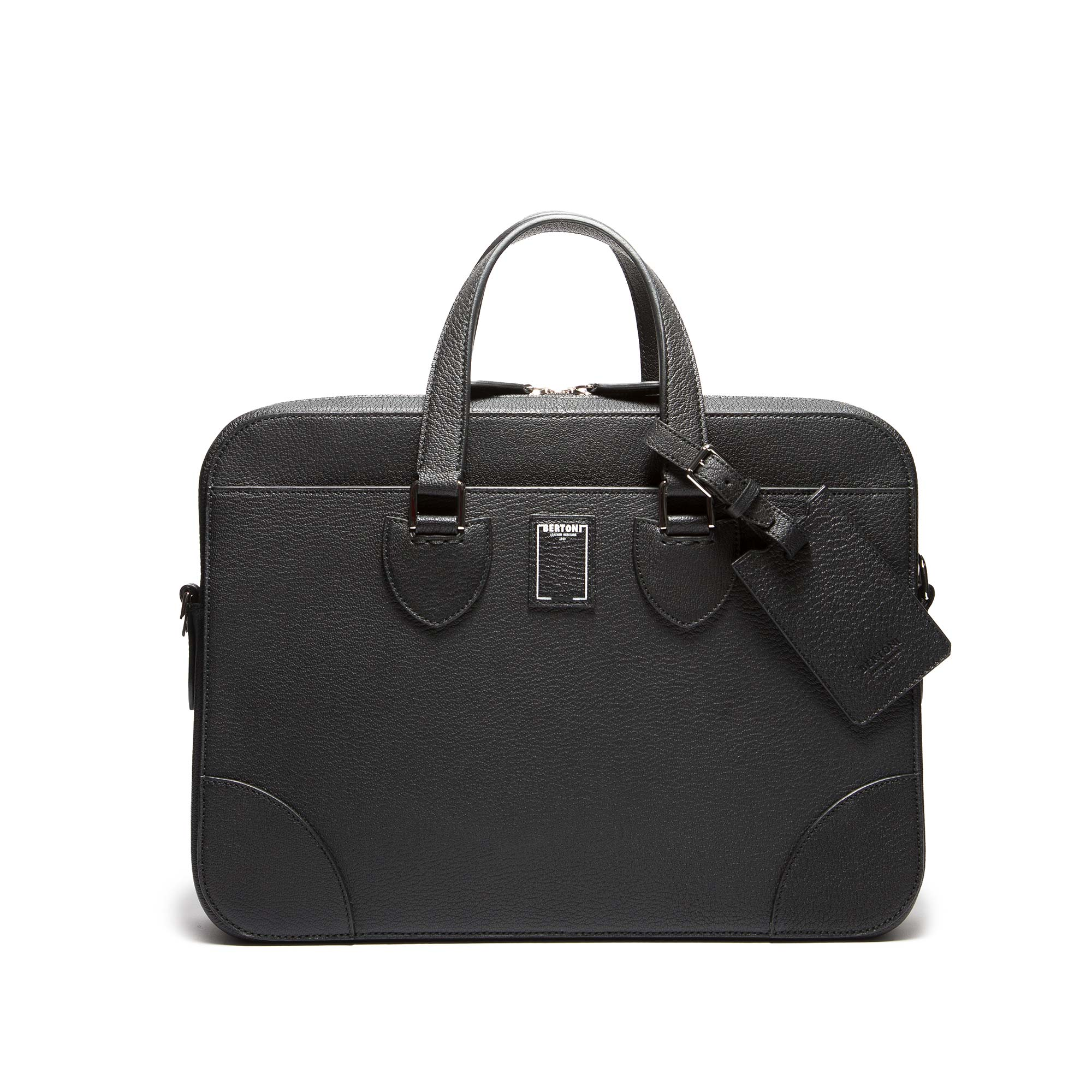Medium-Double-Handle-black-goat-skin-bag-Bertoni-1949