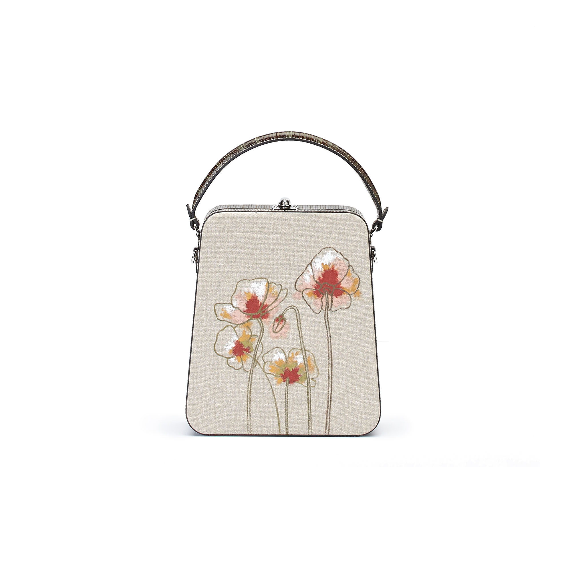 The military green with Poppy flowers wood leather canvas Tall Bertoncina bag by Bertoni 1949 01
