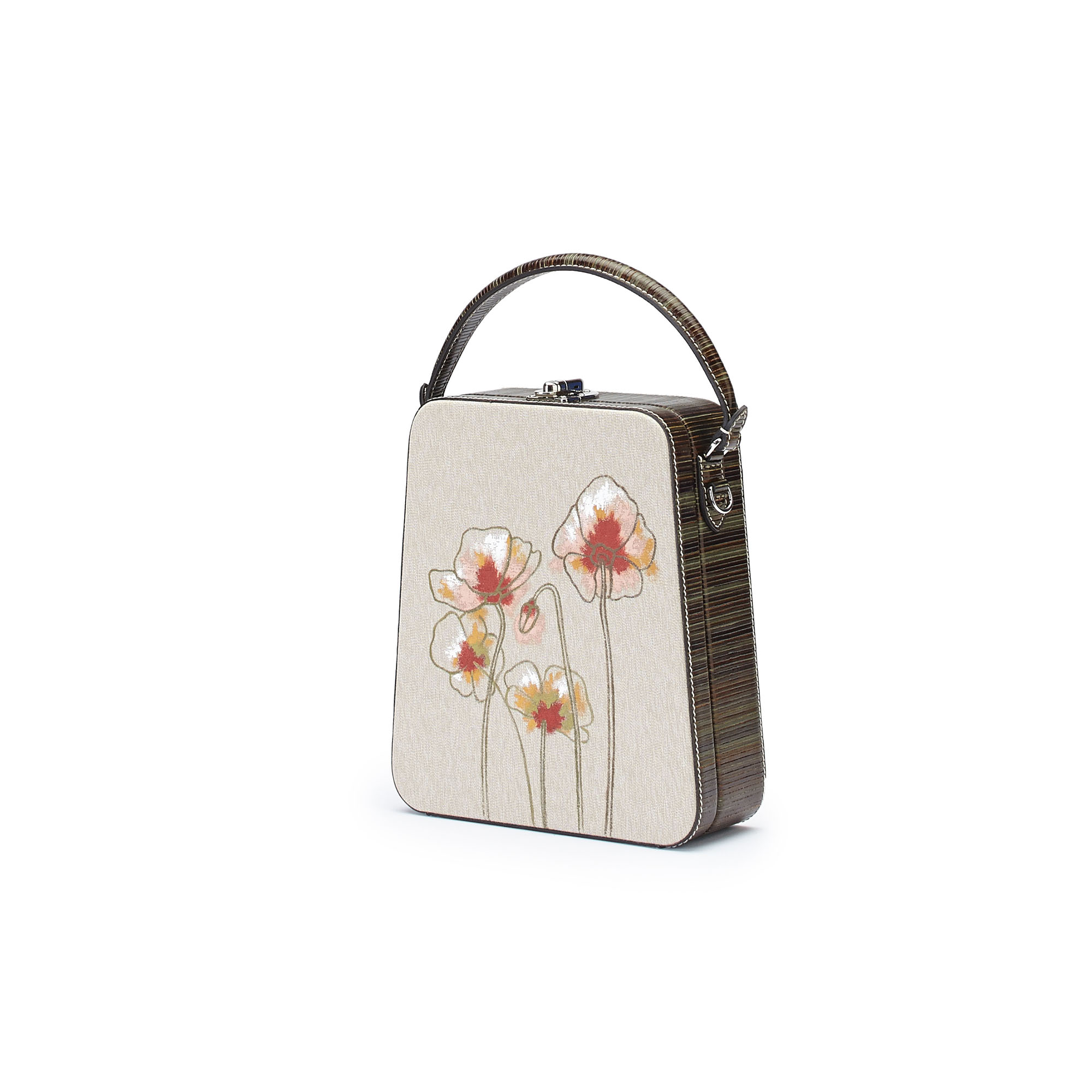 The military green with Poppy flowers wood leather canvas Tall Bertoncina bag by Bertoni 1949 02