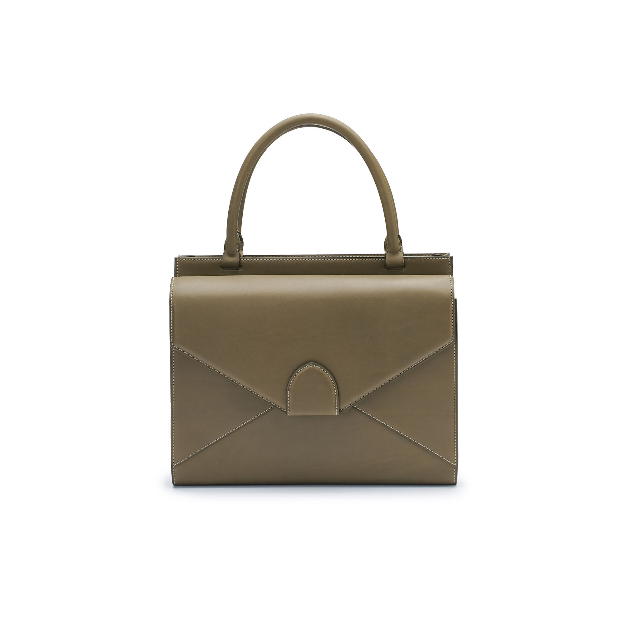 The military green french calf Double Dafne bag by Bertoni 1949 01