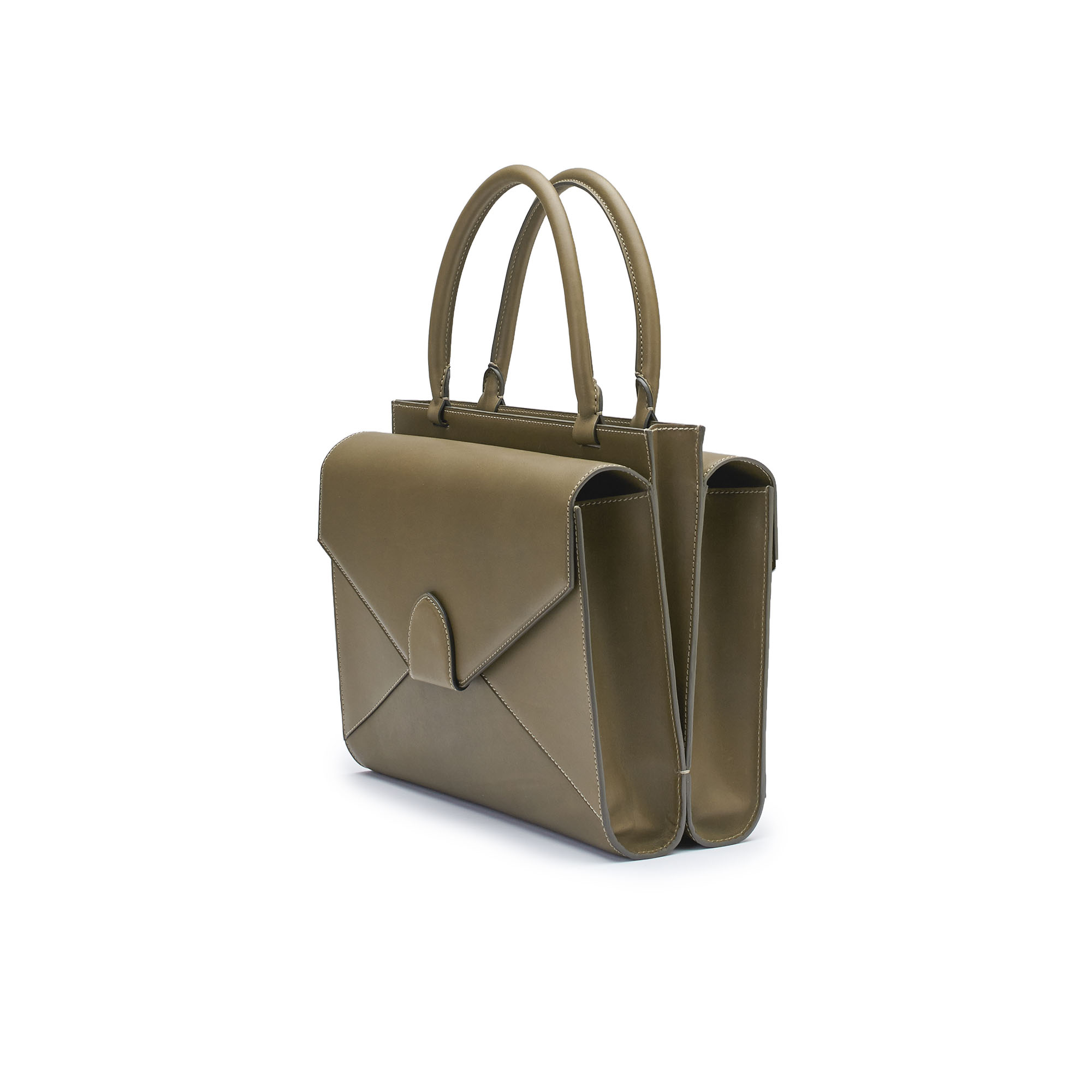 The military green french calf Double Dafne bag by Bertoni 1949 02