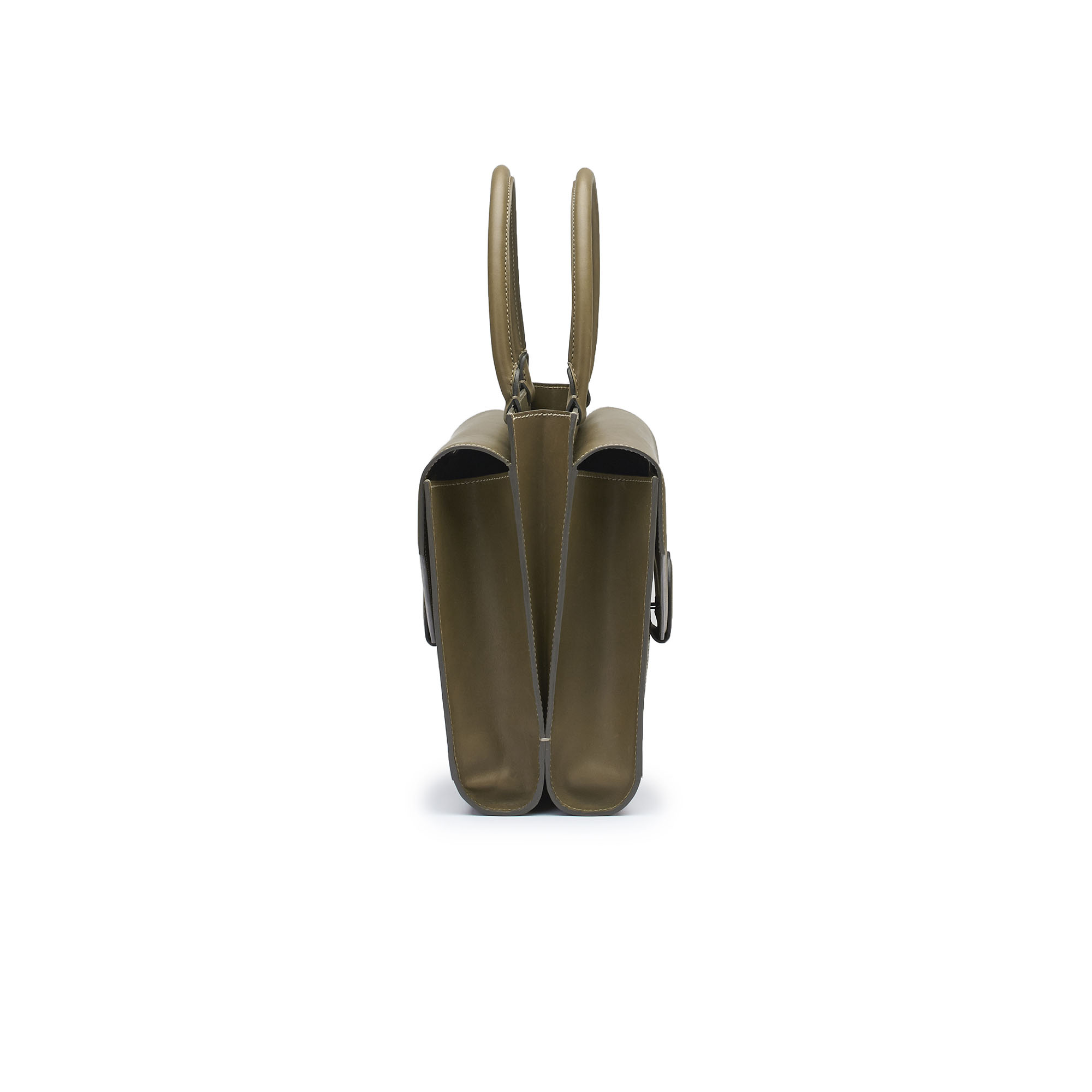 The military green french calf Double Dafne bag by Bertoni 1949 03