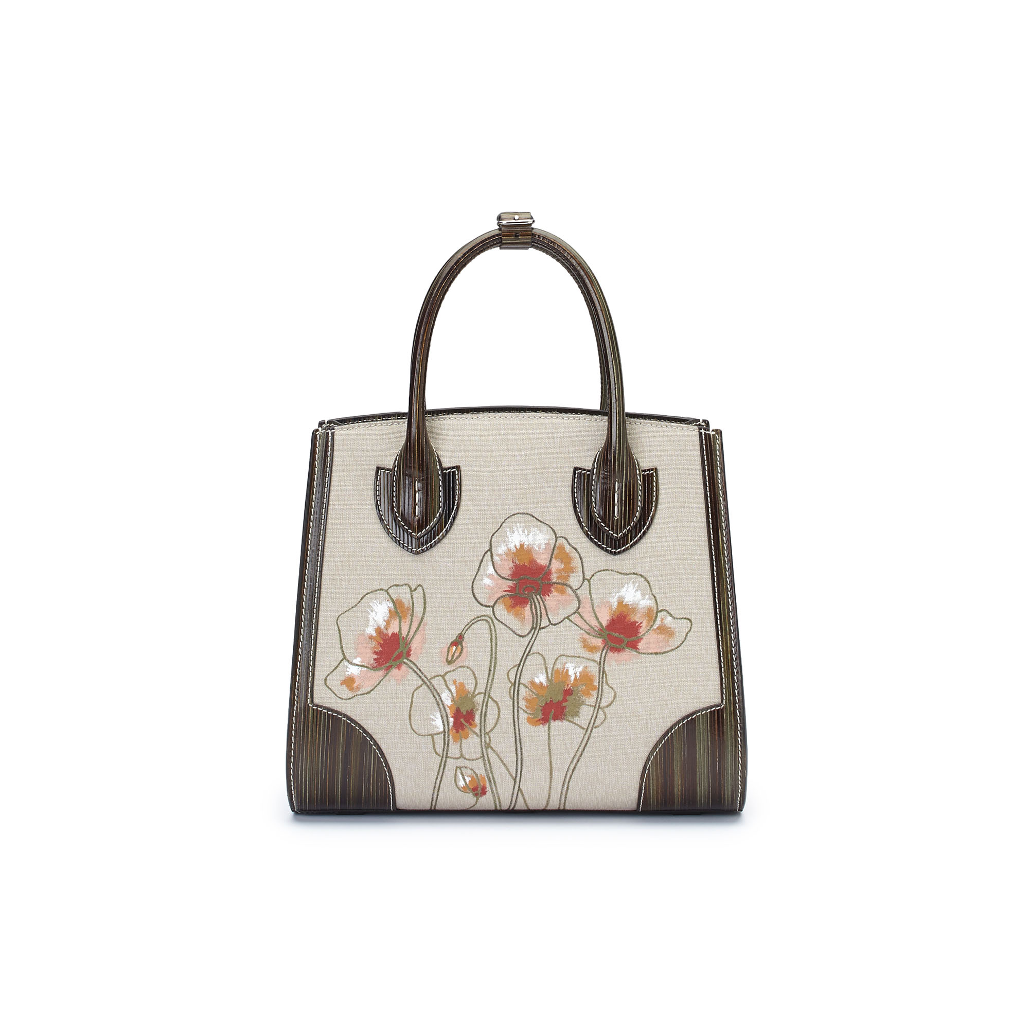 The military green with hand painted poppy flowers wood leather canvas Darcy bag by Bertoni 1949 01