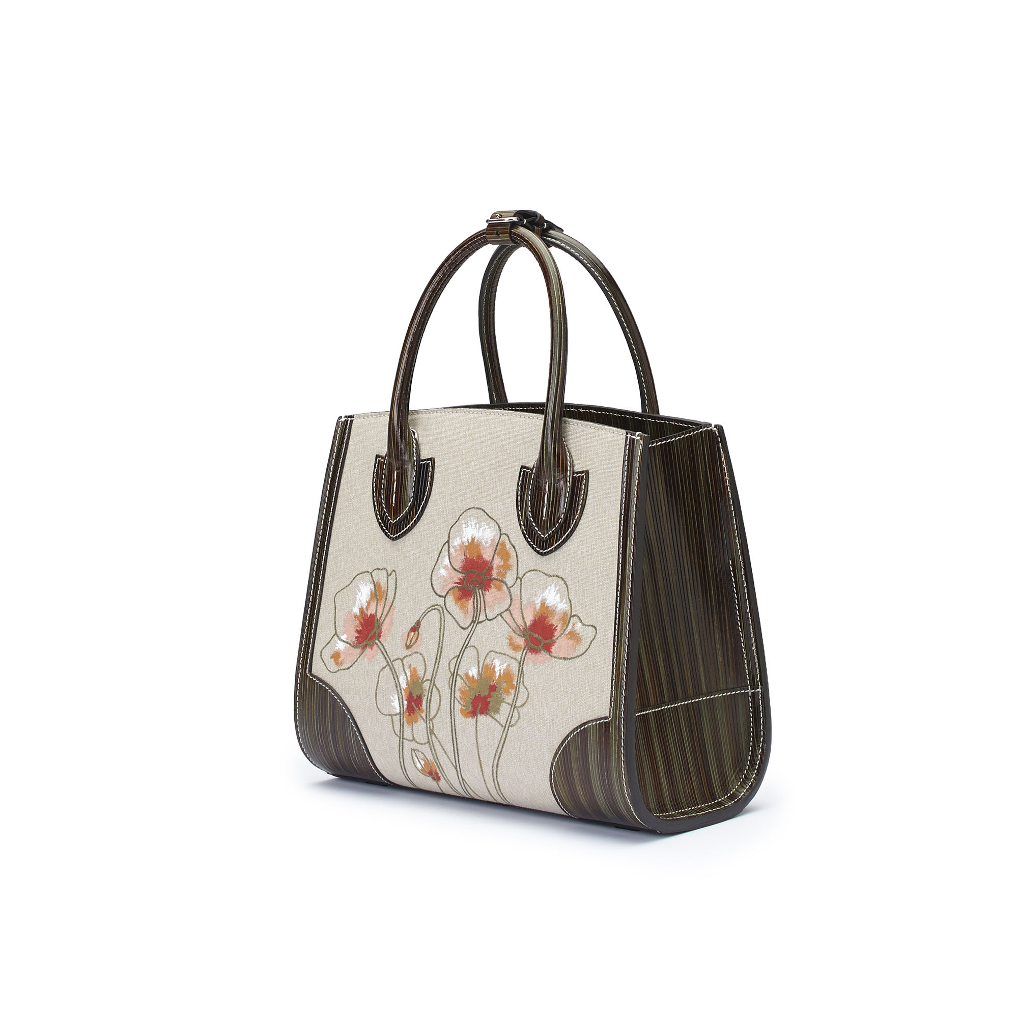The military green with hand painted poppy flowers wood leather canvas Darcy bag by Bertoni 1949 02