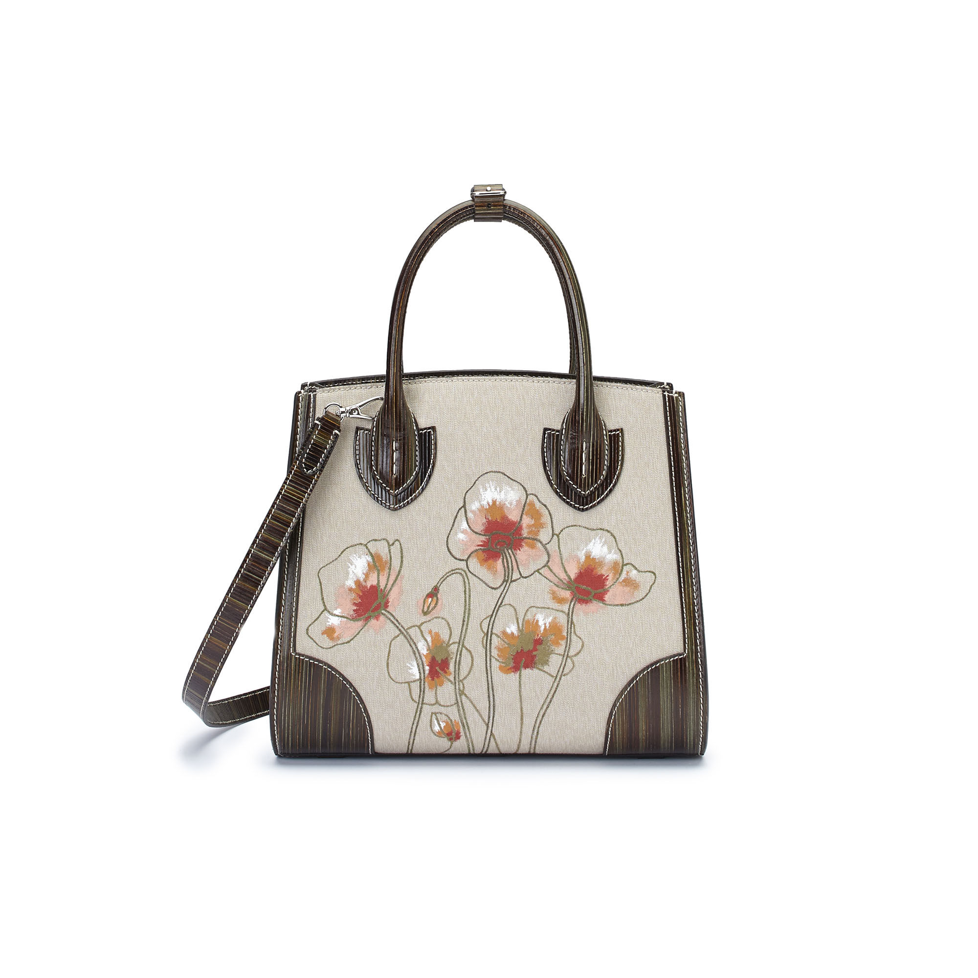 The military green with hand painted poppy flowers wood leather canvas Darcy bag by Bertoni 1949 03