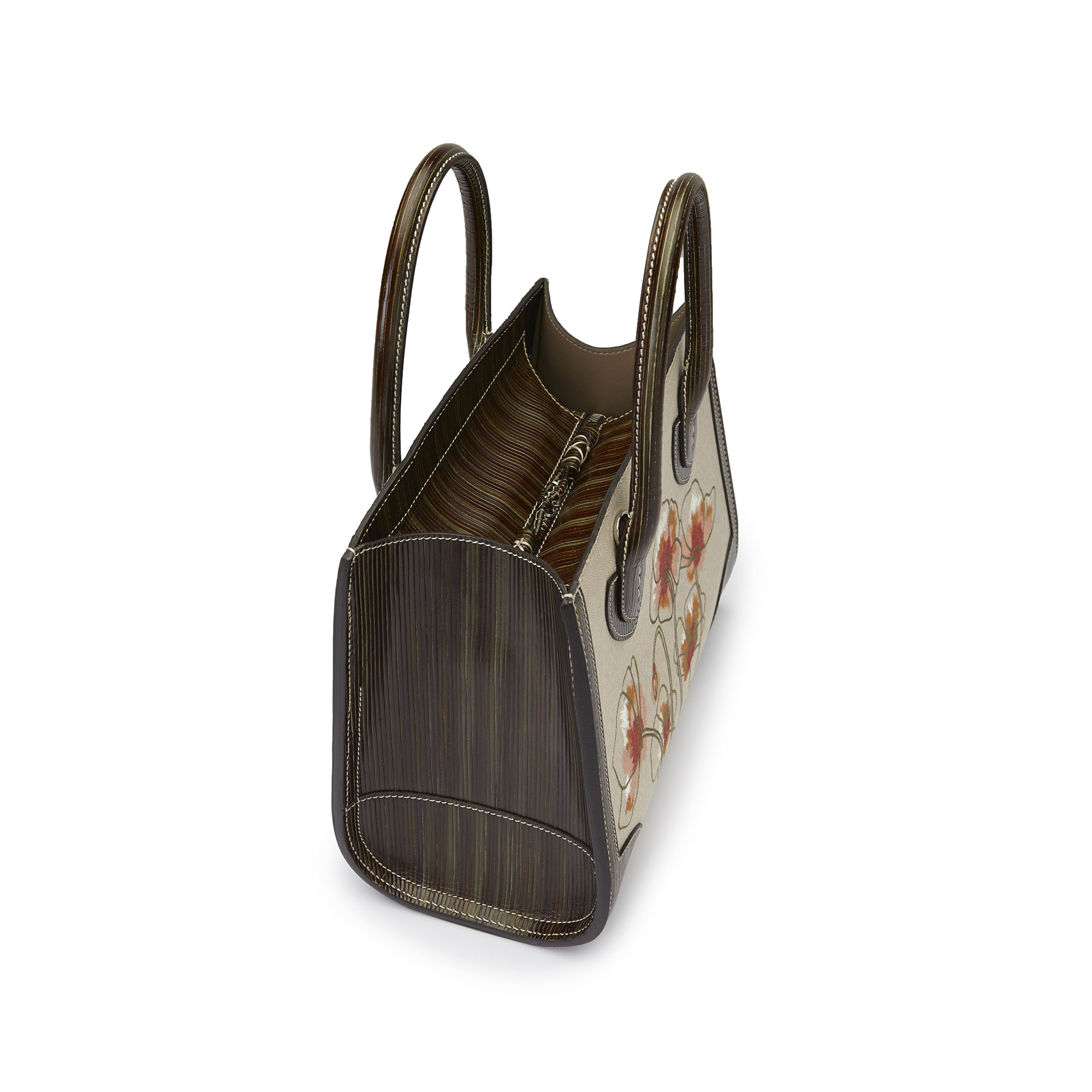 The military green with hand painted poppy flowers wood leather canvas Darcy bag by Bertoni 1949 04