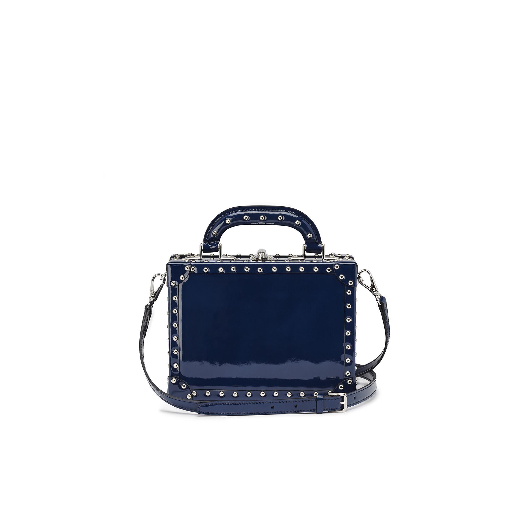 Mini-Squared-Bertoncina-dark-blue-studded-patent-leather-Bertoni-1949