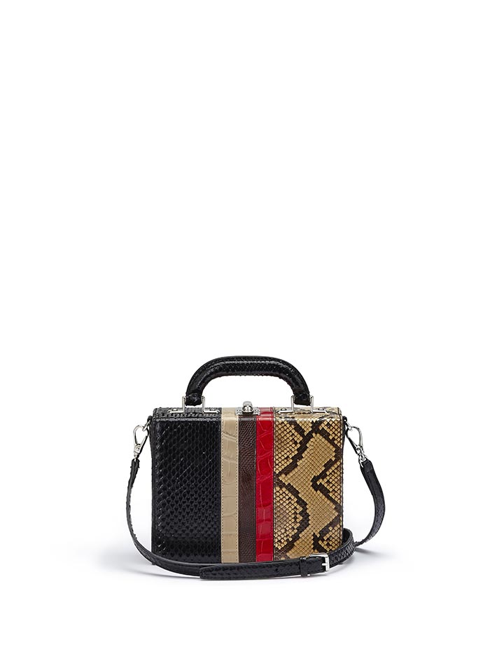 The multi material french calf, alligator, lizard, python Mini Squared Bertoncina bag by Bertoni 1949