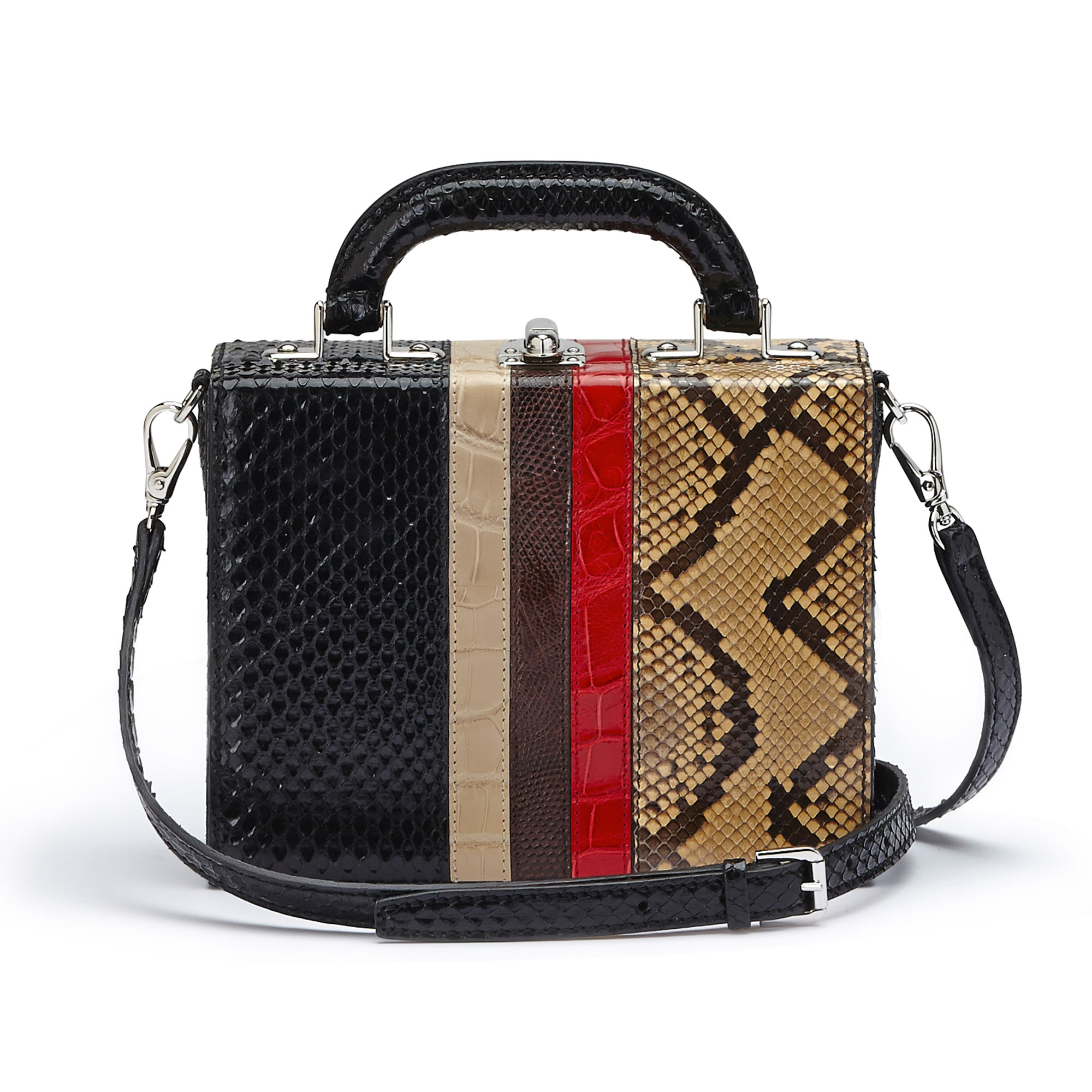 The multi material french calf, alligator, lizard, python Mini Squared Bertoncina bag by Bertoni 1949 03
