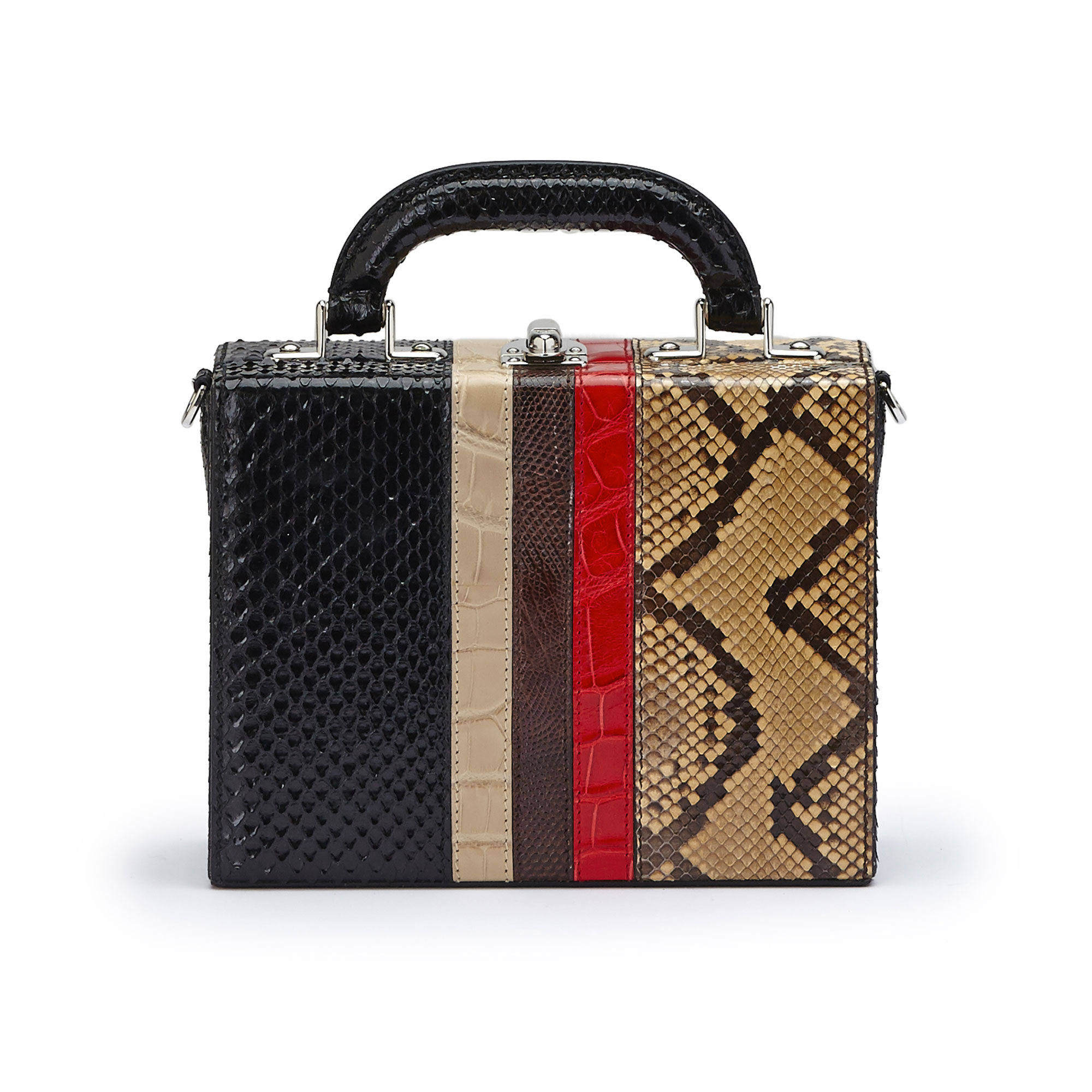The multi material french calf, alligator, lizard, python Mini Squared Bertoncina bag by Bertoni 1949 01