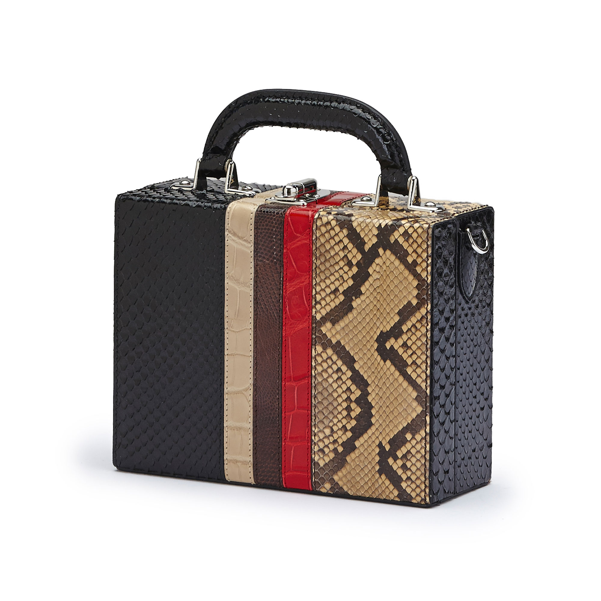 The multi material french calf, alligator, lizard, python Mini Squared Bertoncina bag by Bertoni 1949 02