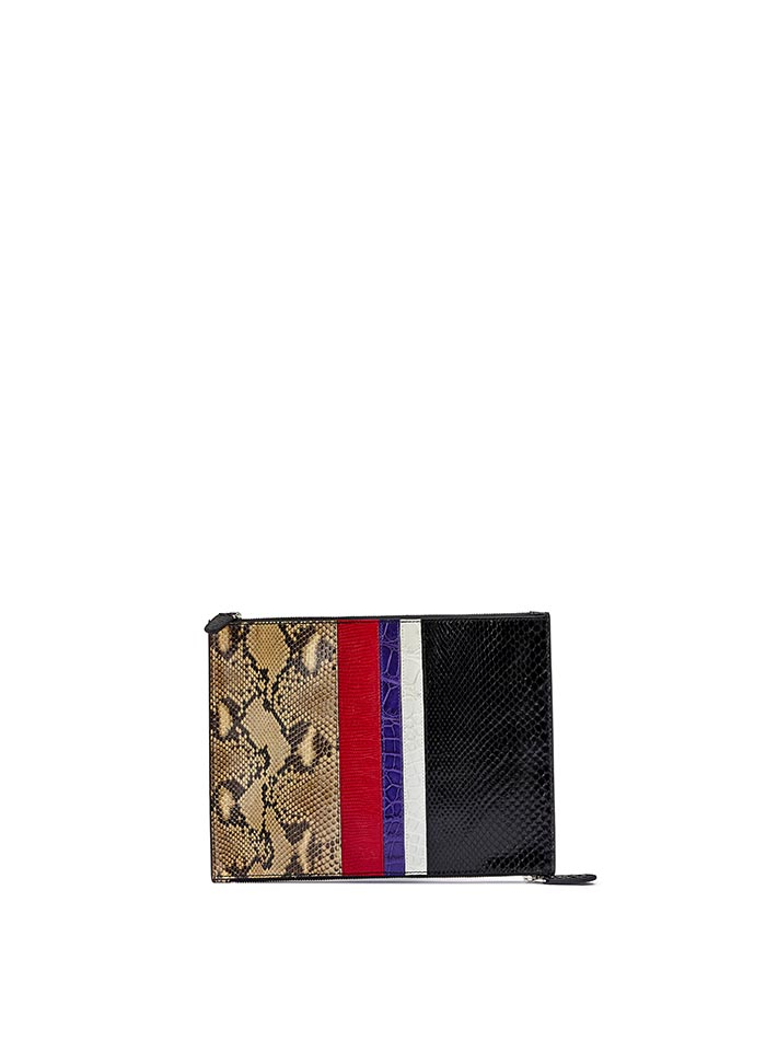 The multi materials french calf alligator lizard python Zip Pouch zip by Bertoni 1949