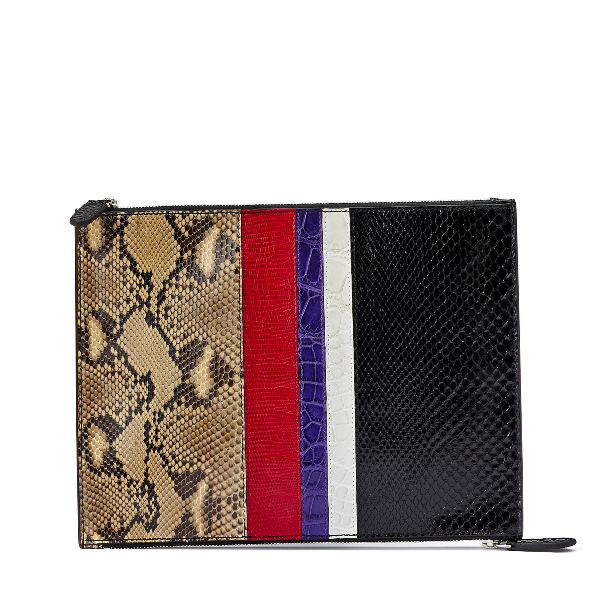 The multi materials french calf alligator lizard python Zip Pouch zip by Bertoni 1949 01