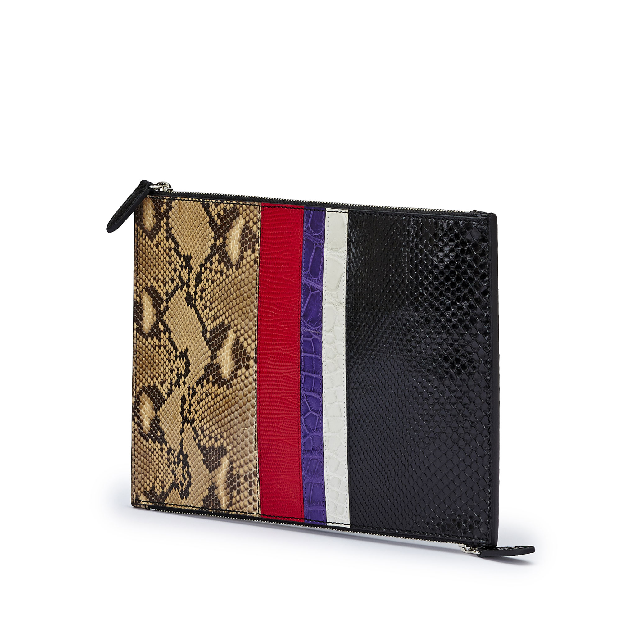 The multi materials french calf alligator lizard python Zip Pouch zip by Bertoni 1949 02