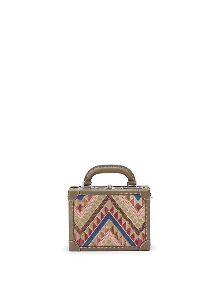 The multicolor haircalf woven Squared Bertoncina suitcase by Bertoni 1949