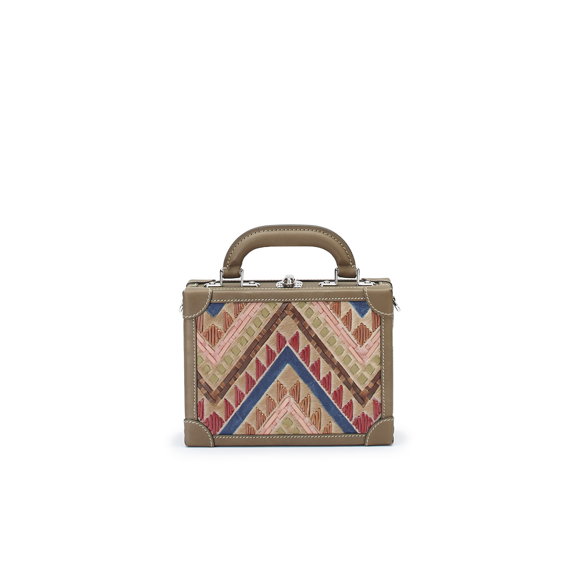 The multicolor haircalf woven Squared Bertoncina suitcase by Bertoni 1949 01