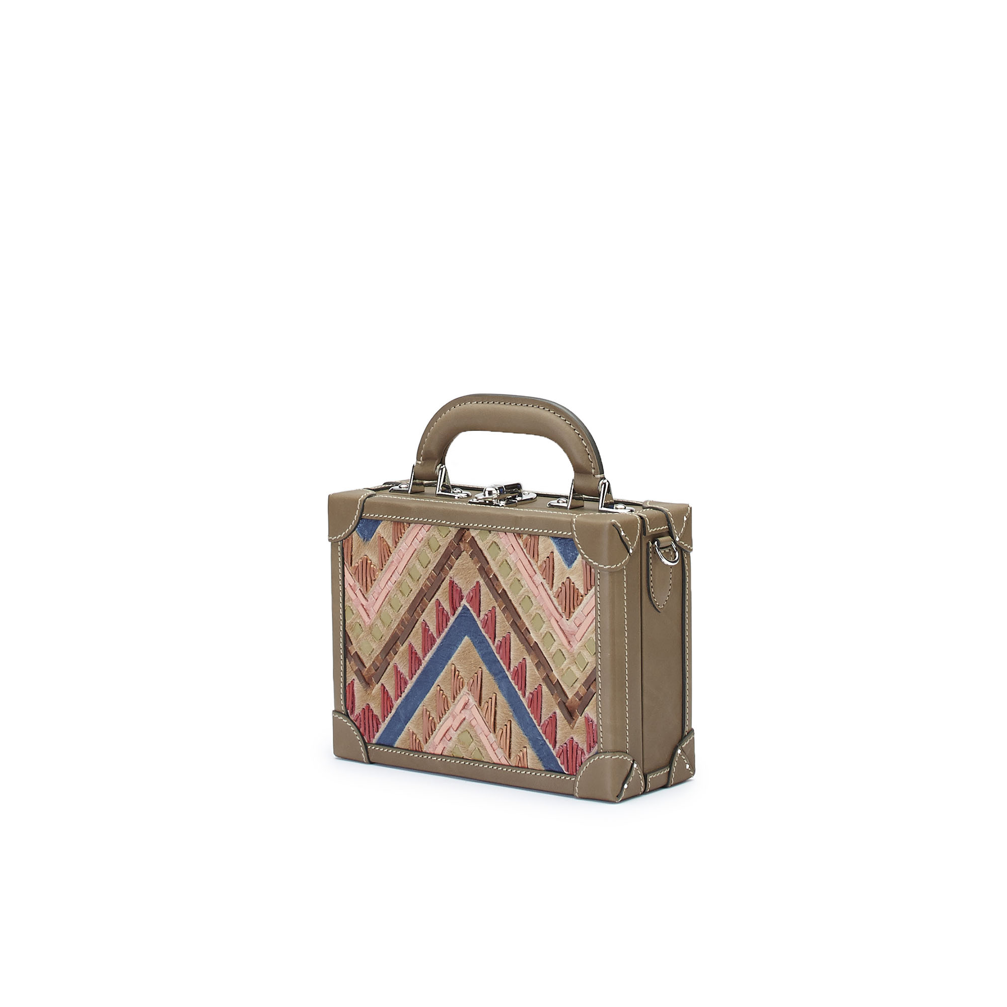 The multicolor haircalf woven Squared Bertoncina suitcase by Bertoni 1949 02
