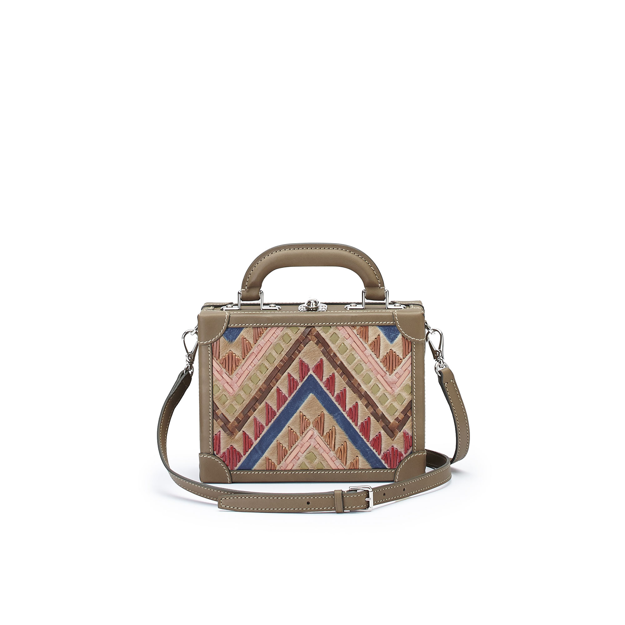The multicolor haircalf woven Squared Bertoncina suitcase by Bertoni 1949 03
