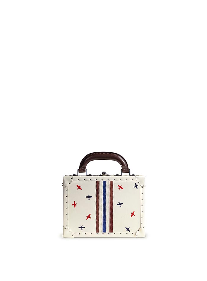 Navy and brown stripes with hand-painted airplanes french calf parchment Mini Squared Bertoncina bag by Bertoni 1949