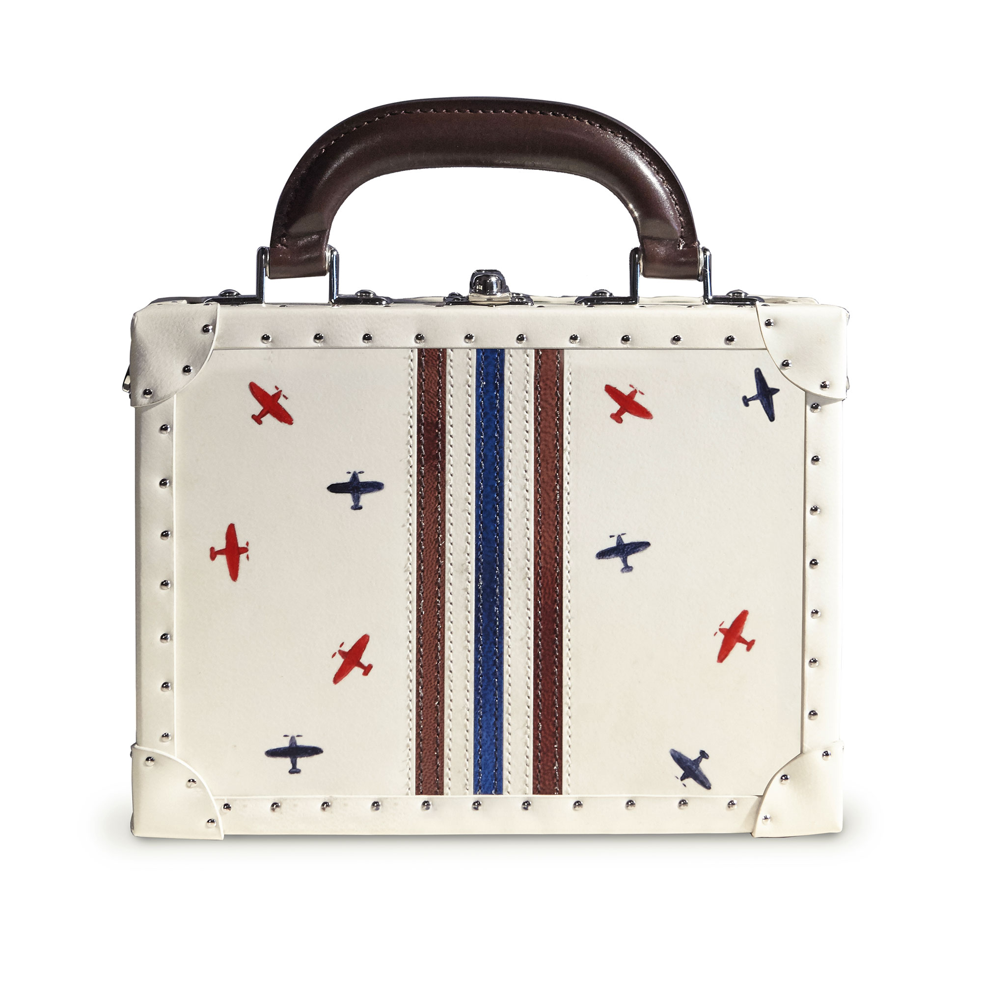 Navy and brown stripes with hand-painted airplanes french calf parchment Mini Squared Bertoncina bag by Bertoni 1949 01