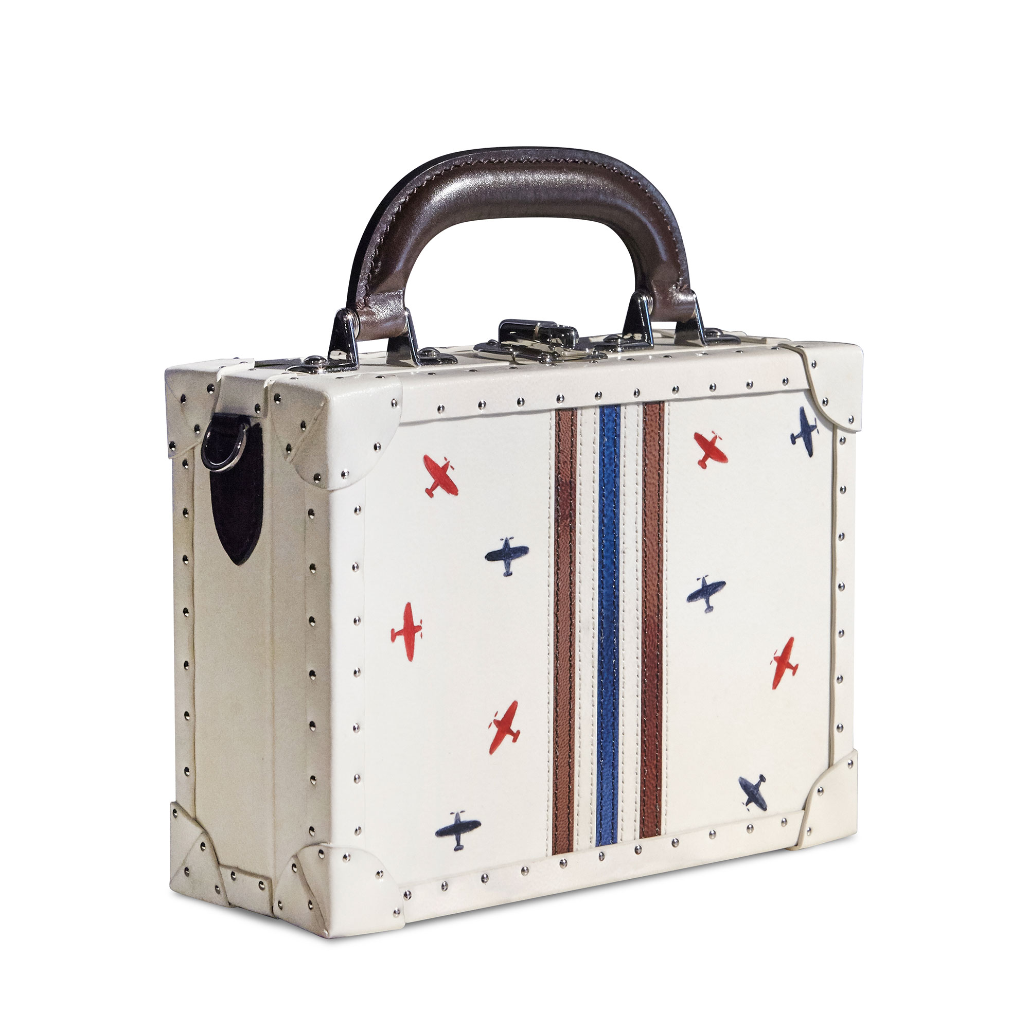 Navy and brown stripes with hand-painted airplanes french calf parchment Mini Squared Bertoncina bag by Bertoni 1949 02