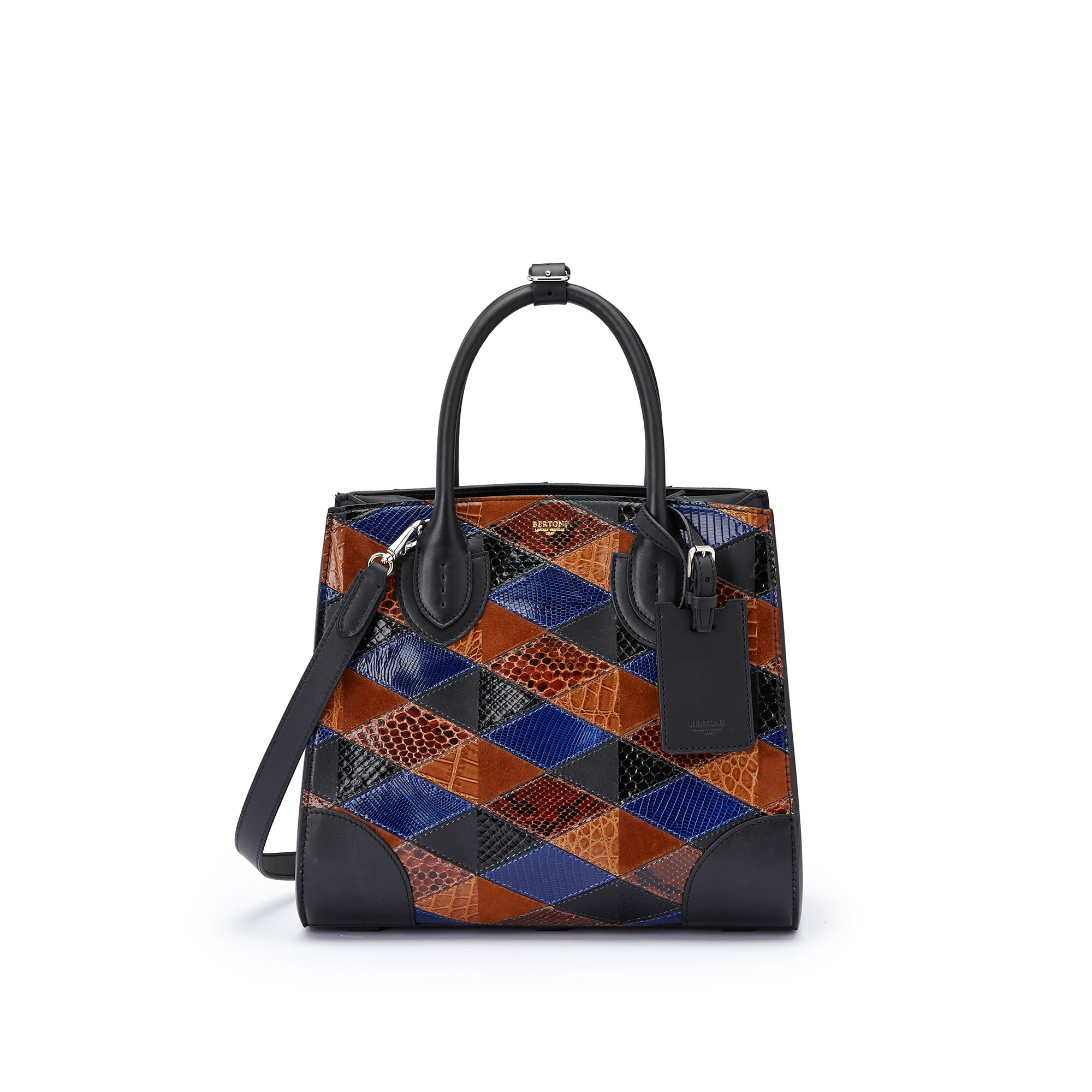 The navy, brown and black french calf, alligator, lizard and python Darcy medium bag by Bertoni 1949 01