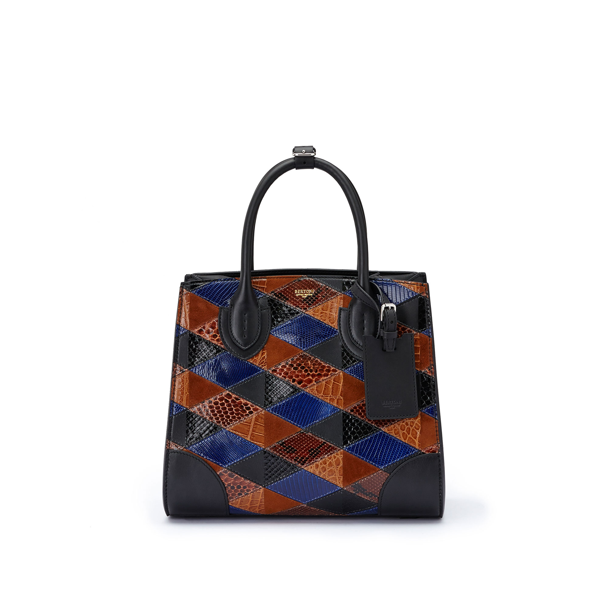 The navy, brown and black french calf, alligator, lizard and python Darcy medium bag by Bertoni 1949 02