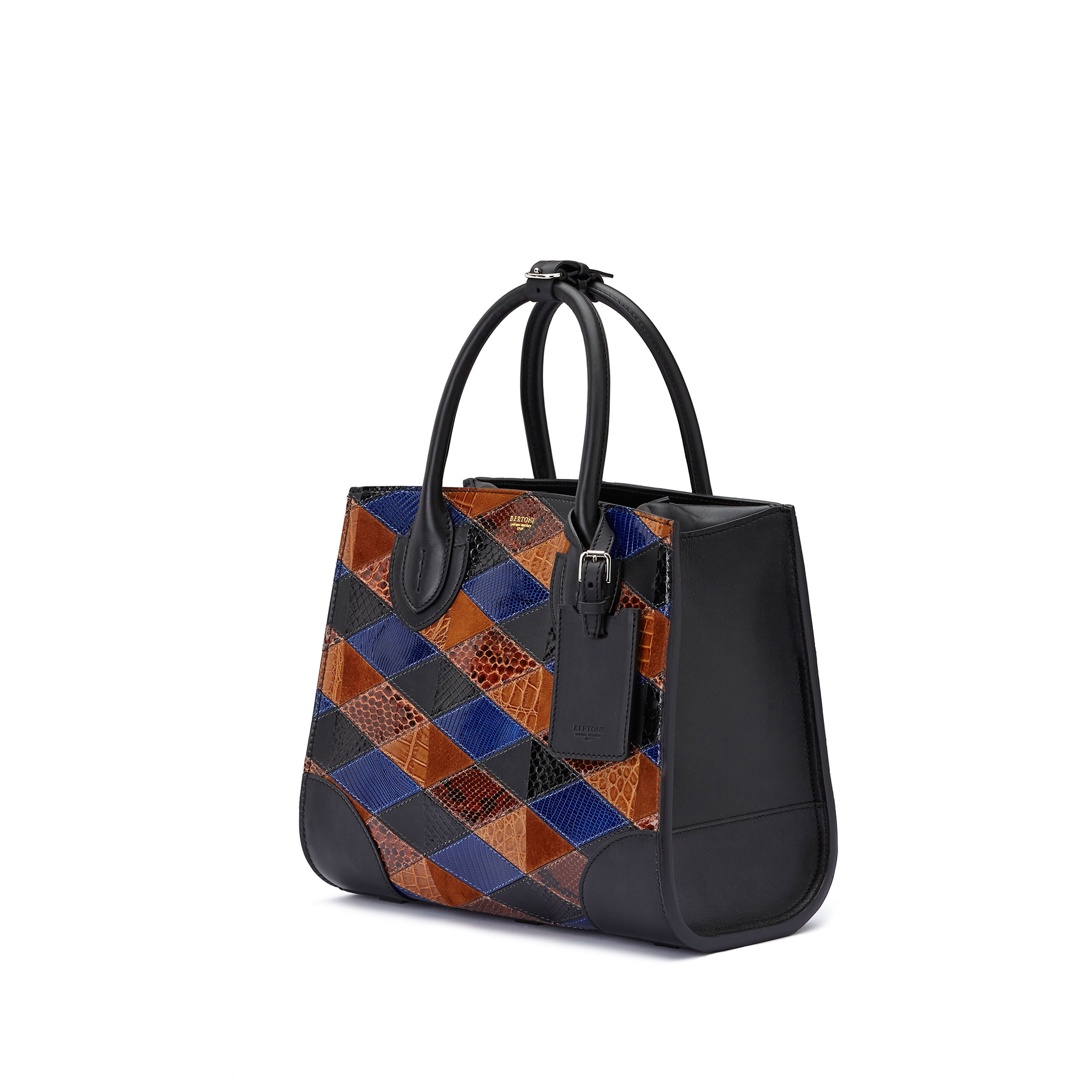 The navy, brown and black french calf, alligator, lizard and python Darcy medium bag by Bertoni 1949 03
