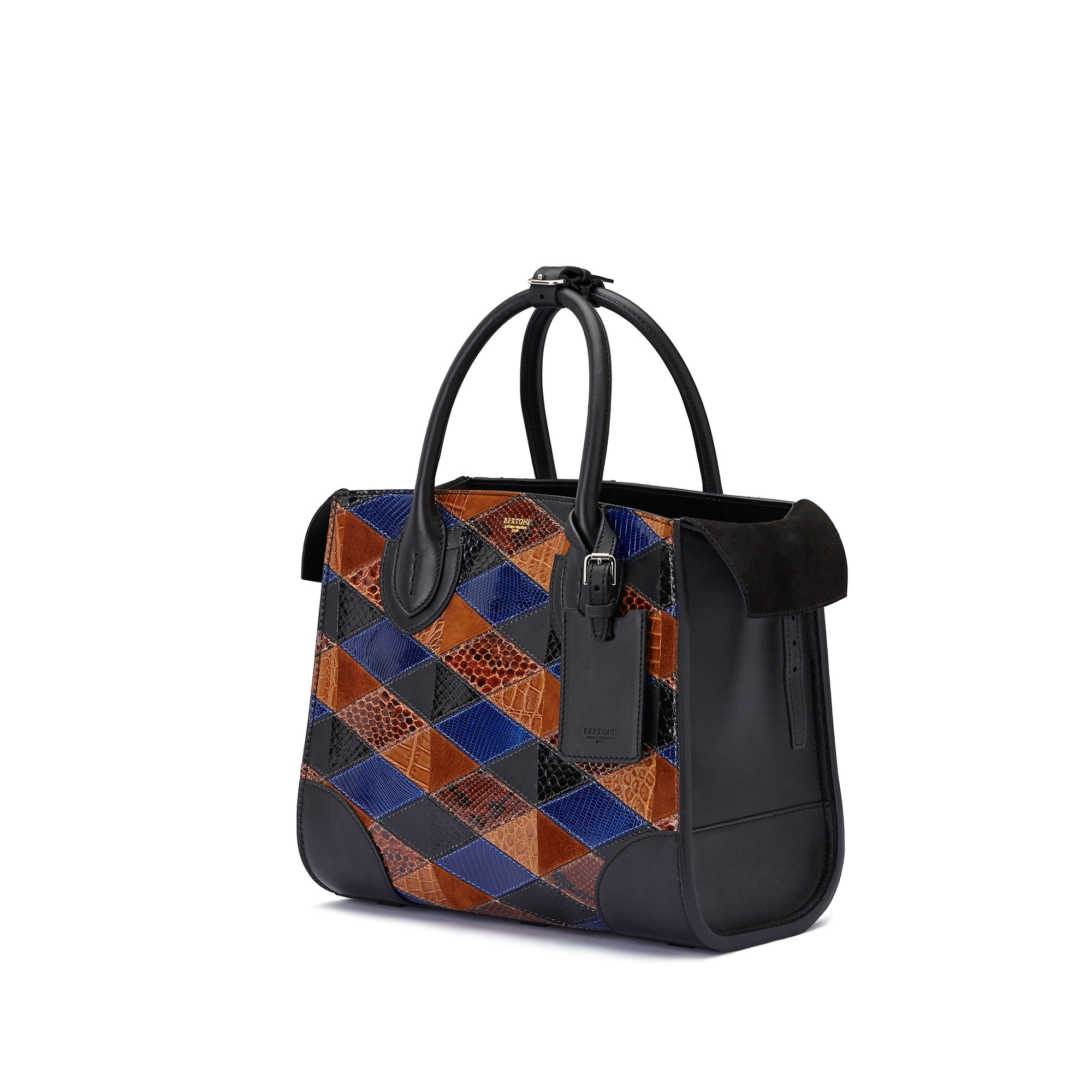 The navy, brown and black french calf, alligator, lizard and python Darcy medium bag by Bertoni 1949 04
