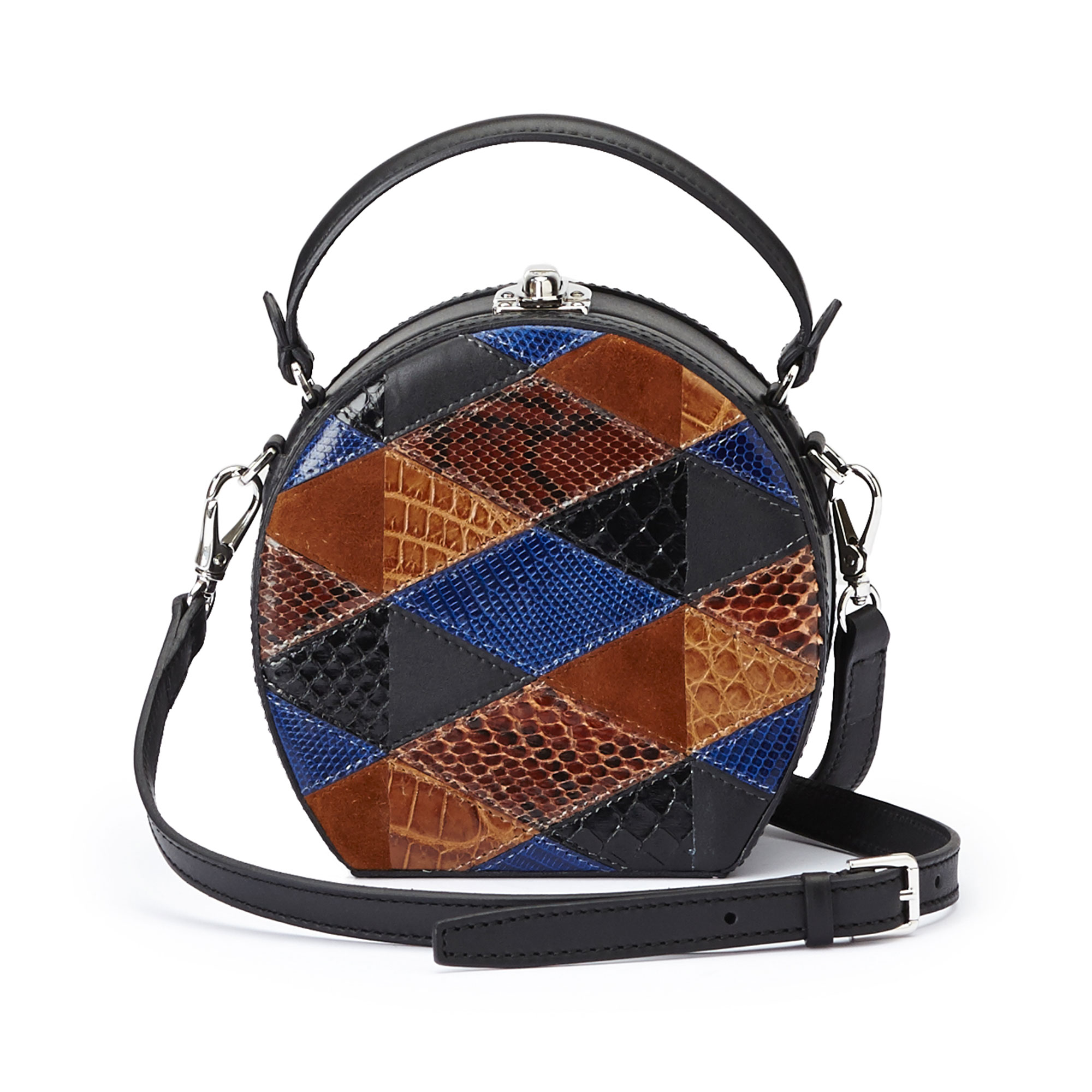 The navy, black and brown french calf, alligator, lizard and python Mini Bertoncina bag by Bertoni 1949 03