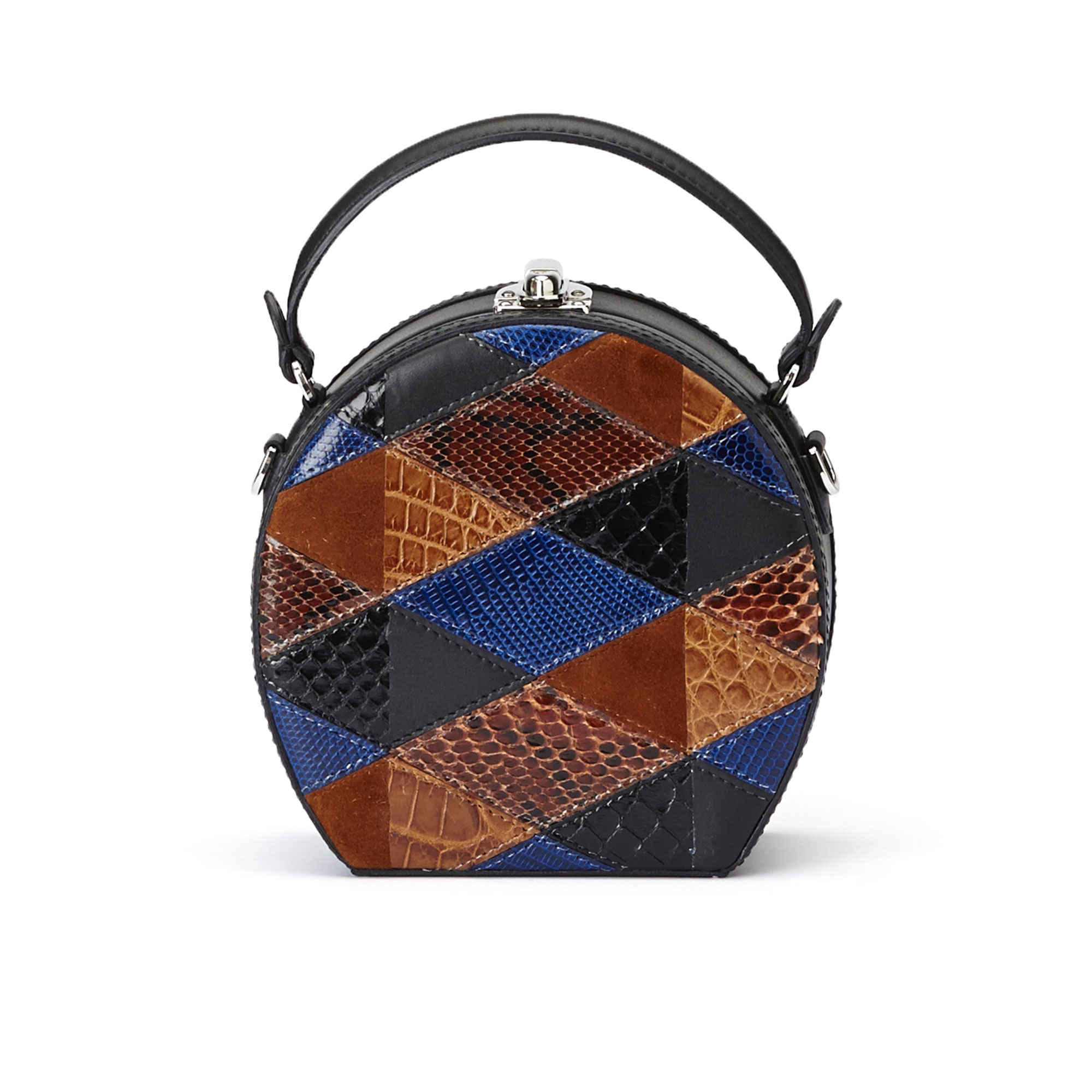 The navy, black and brown french calf, alligator, lizard and python Mini Bertoncina bag by Bertoni 1949 01