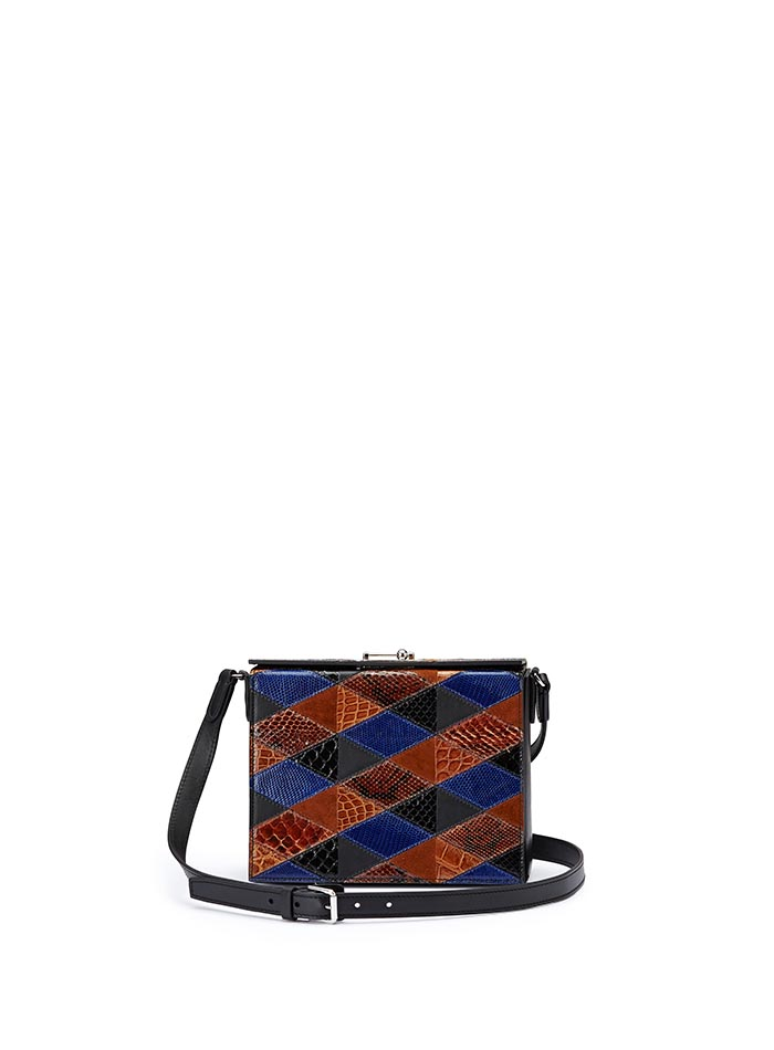 The navy, black and brown alligator, french calf, lizard, python Gemma Crossbody bag by Bertoni 1949