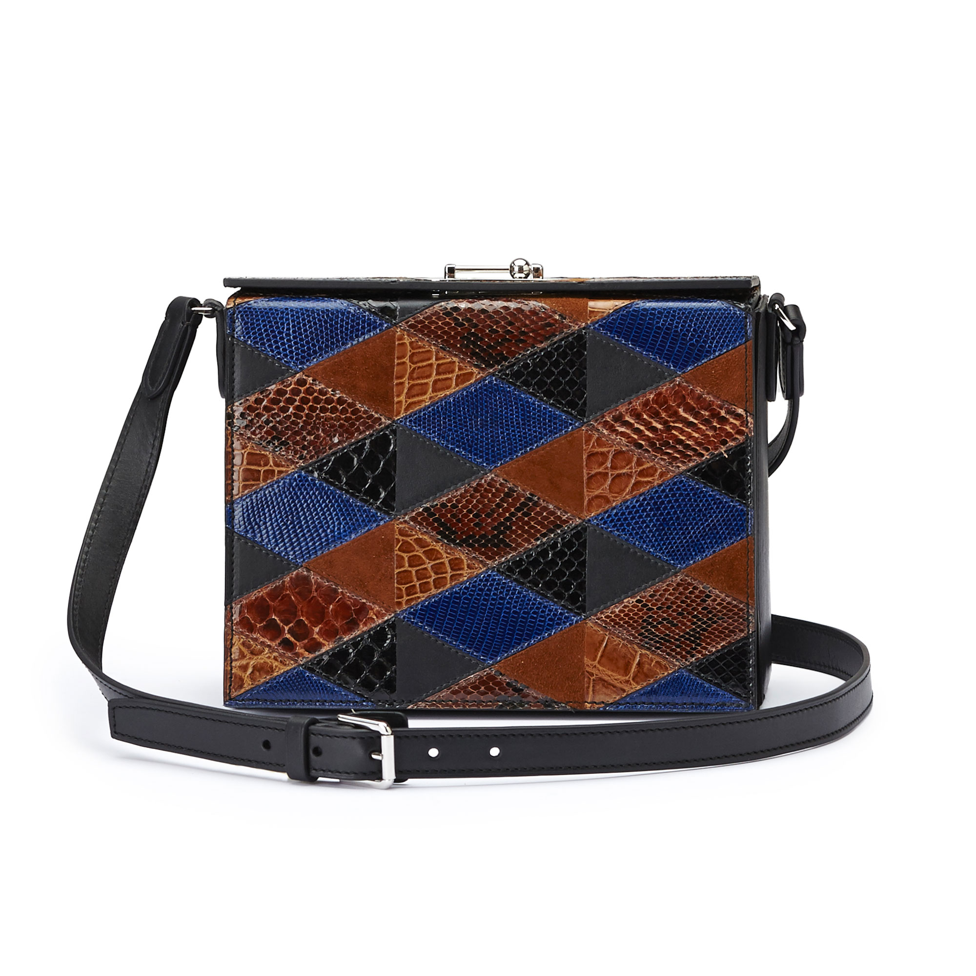 The navy, black and brown alligator, french calf, lizard, python Gemma Crossbody bag by Bertoni 1949 01