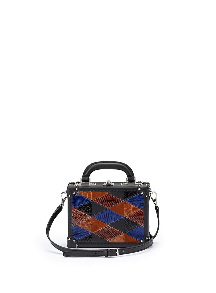 The navy, brown and black french calf, alligator, lizard, python Mini Squared Bertoncina bag by Bertoni 1949