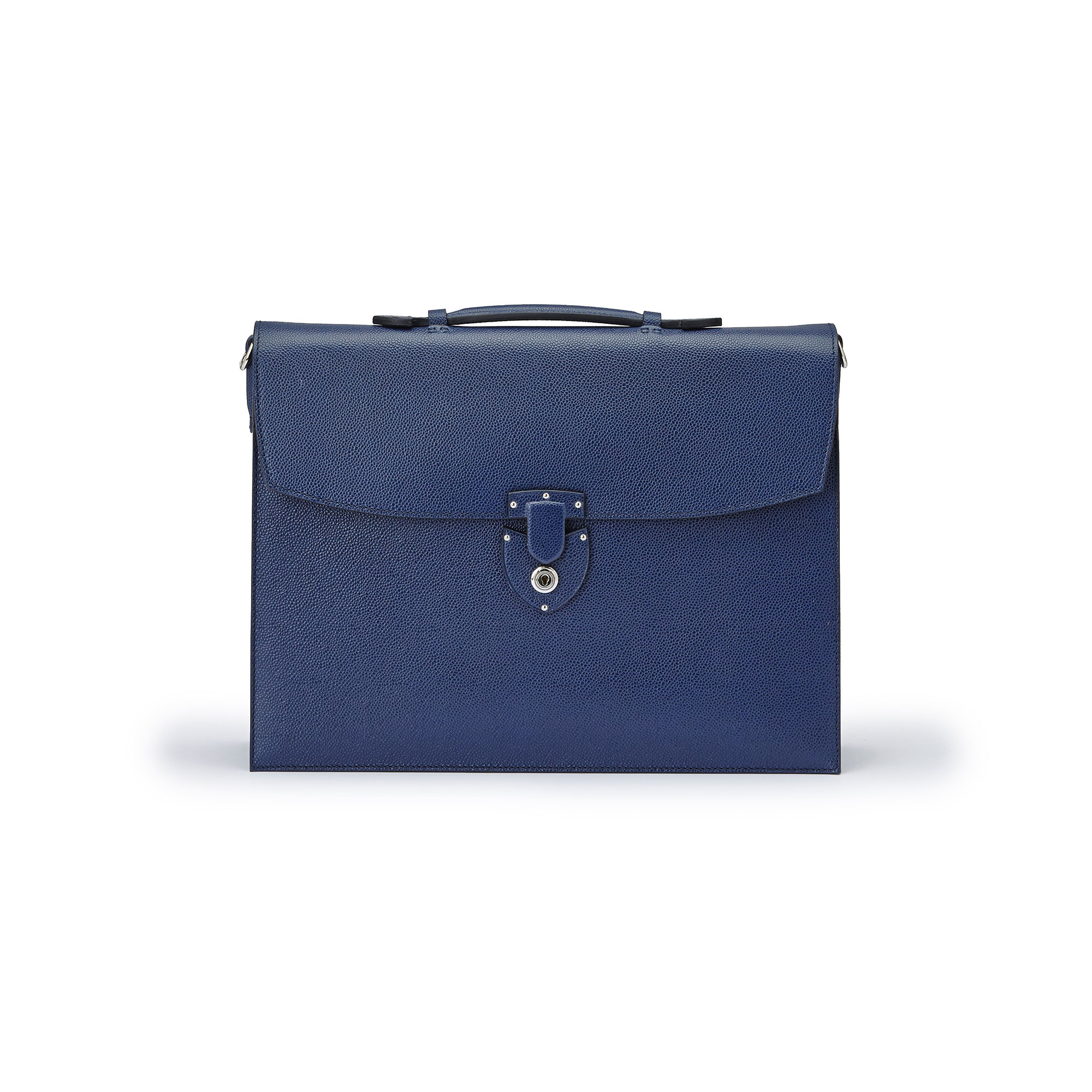 The Navy grain calf Double Gusset Briefcase by Bertoni 1949 01
