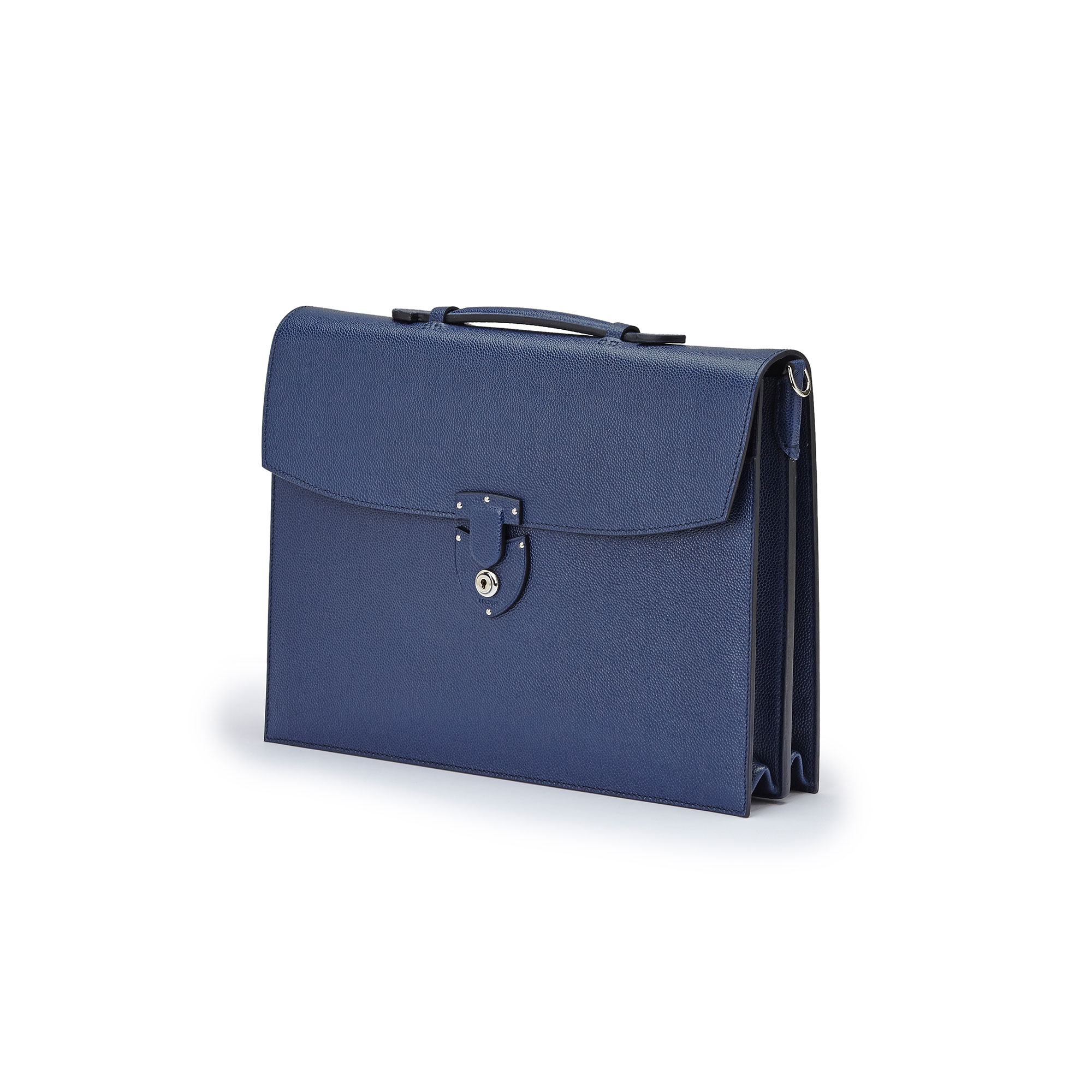 The Navy grain calf Double Gusset Briefcase by Bertoni 1949 02