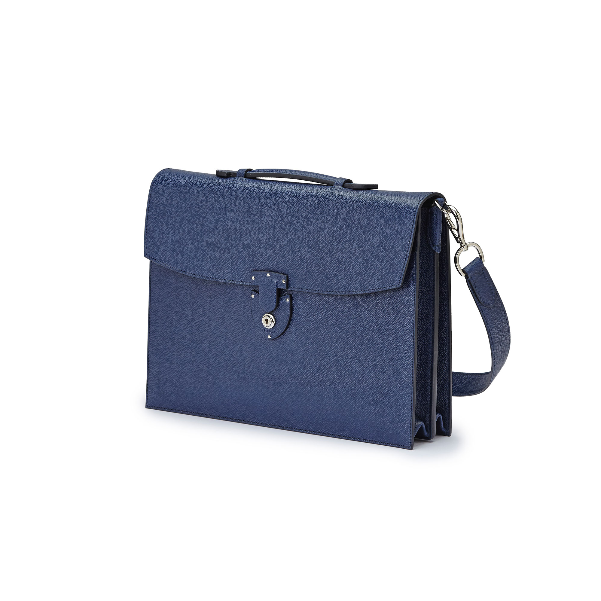 The Navy grain calf Double Gusset Briefcase by Bertoni 1949 04