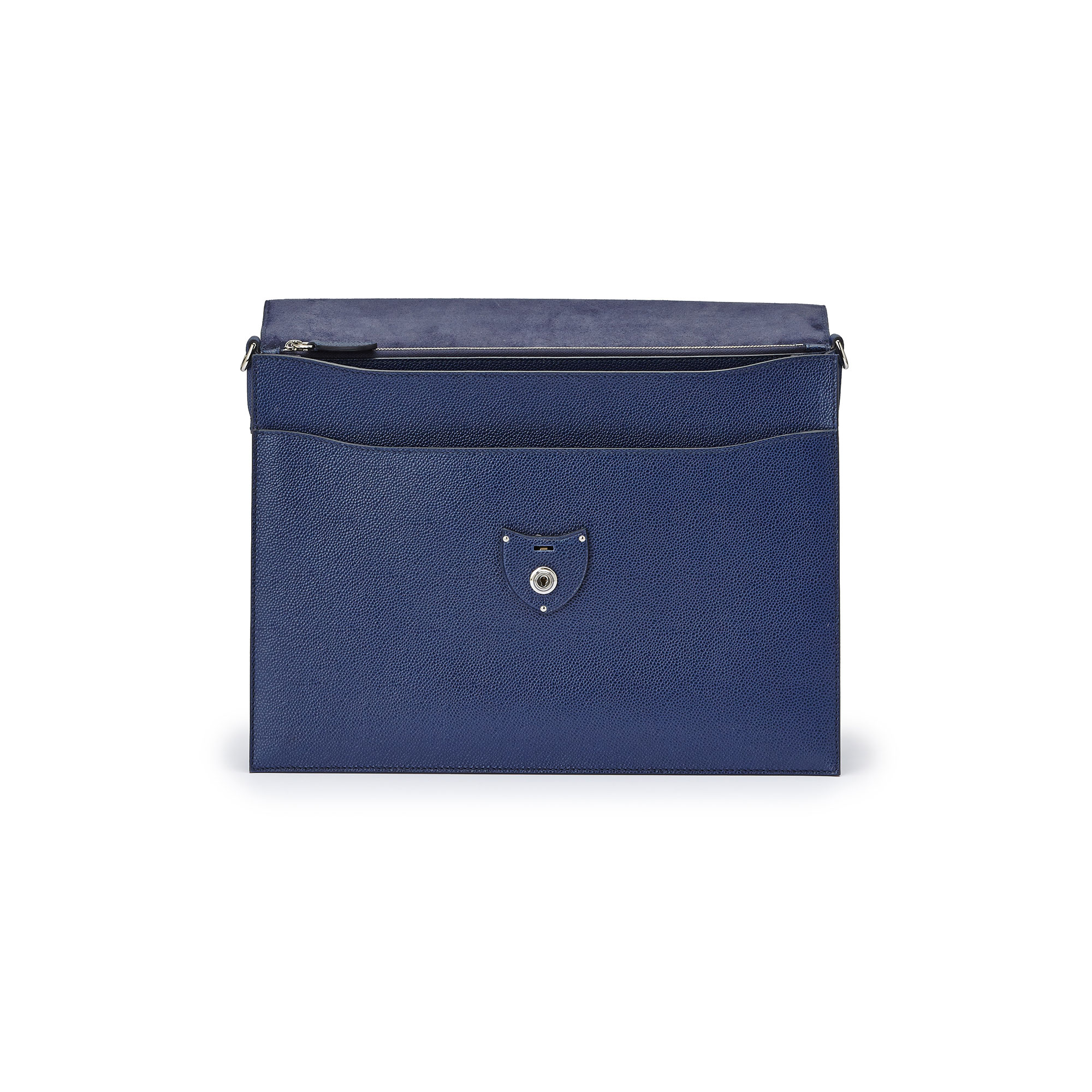 The Navy grain calf Double Gusset Briefcase by Bertoni 1949 05