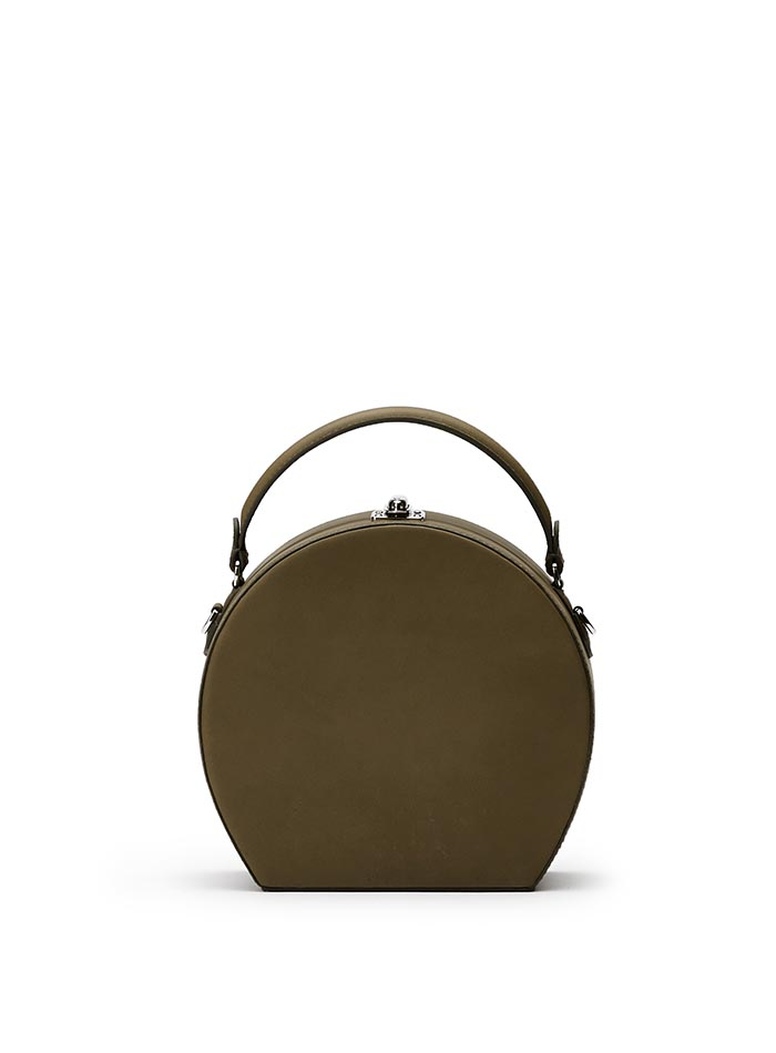 The olive green french calf Regular Bertoncina bag by Bertoni 1949