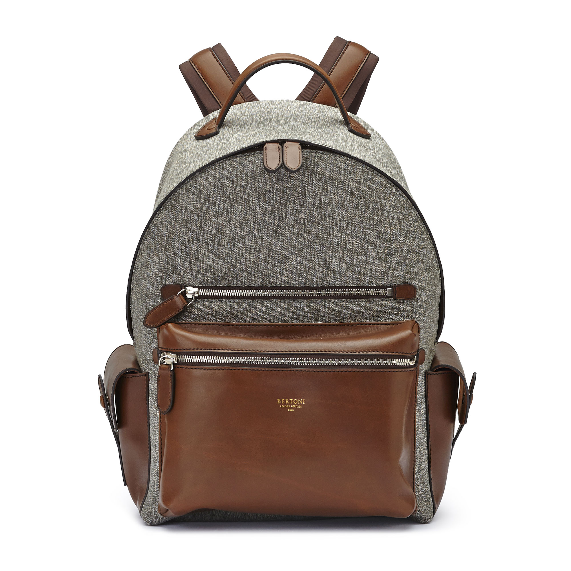 The olive and ivory french calf Zip Backpack by Bertoni 1949 01