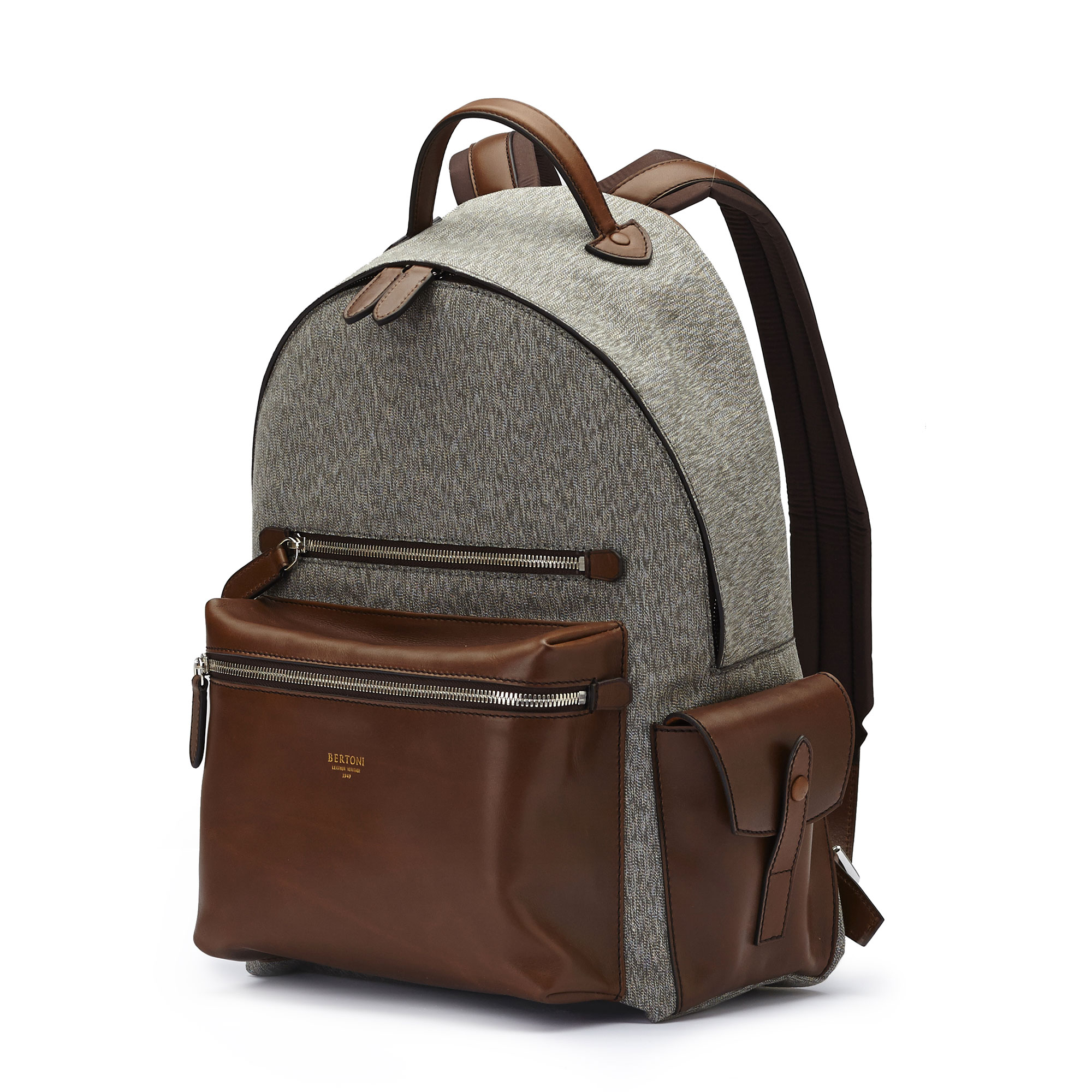 The olive and ivory french calf Zip Backpack by Bertoni 1949 02