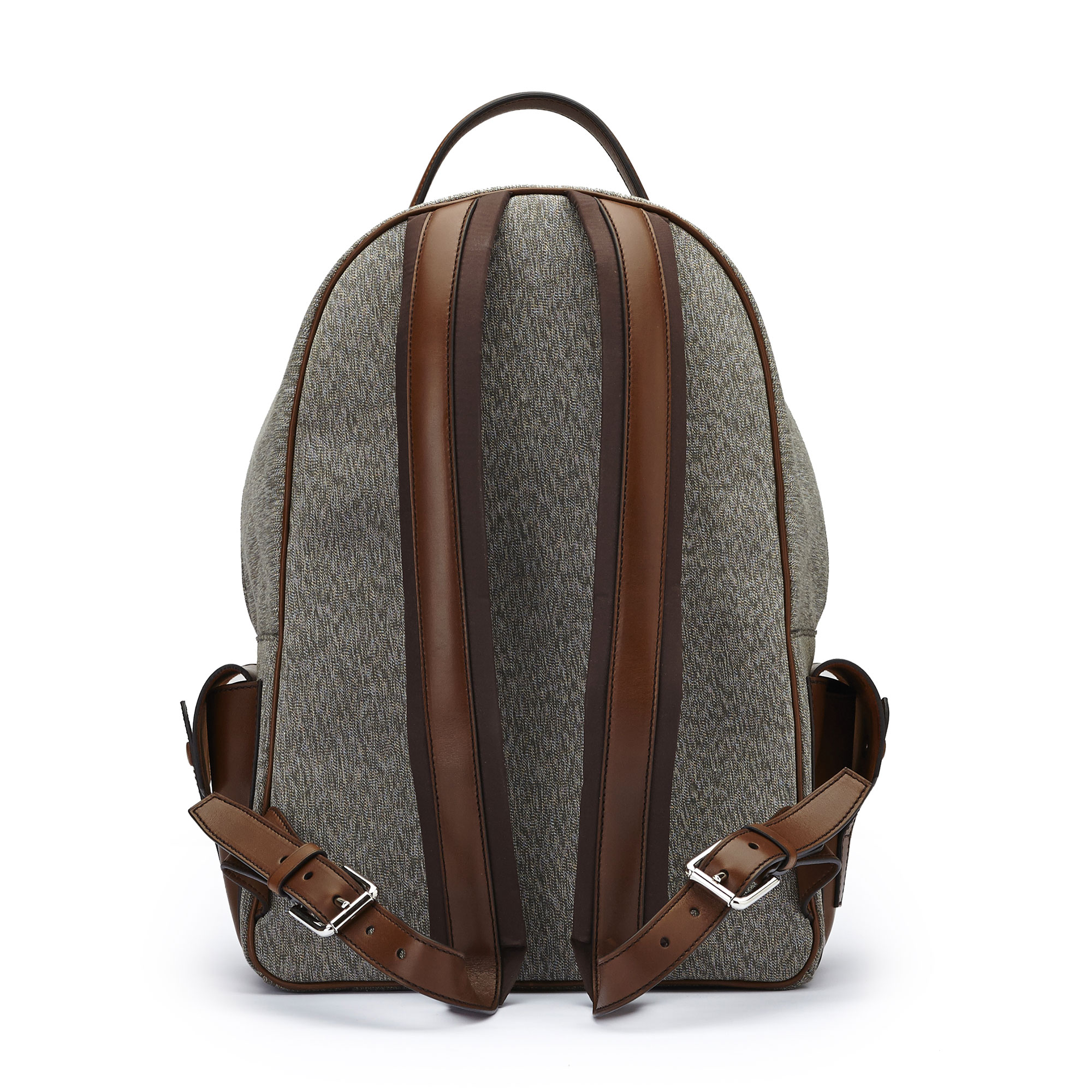 The olive and ivory french calf Zip Backpack by Bertoni 1949 03