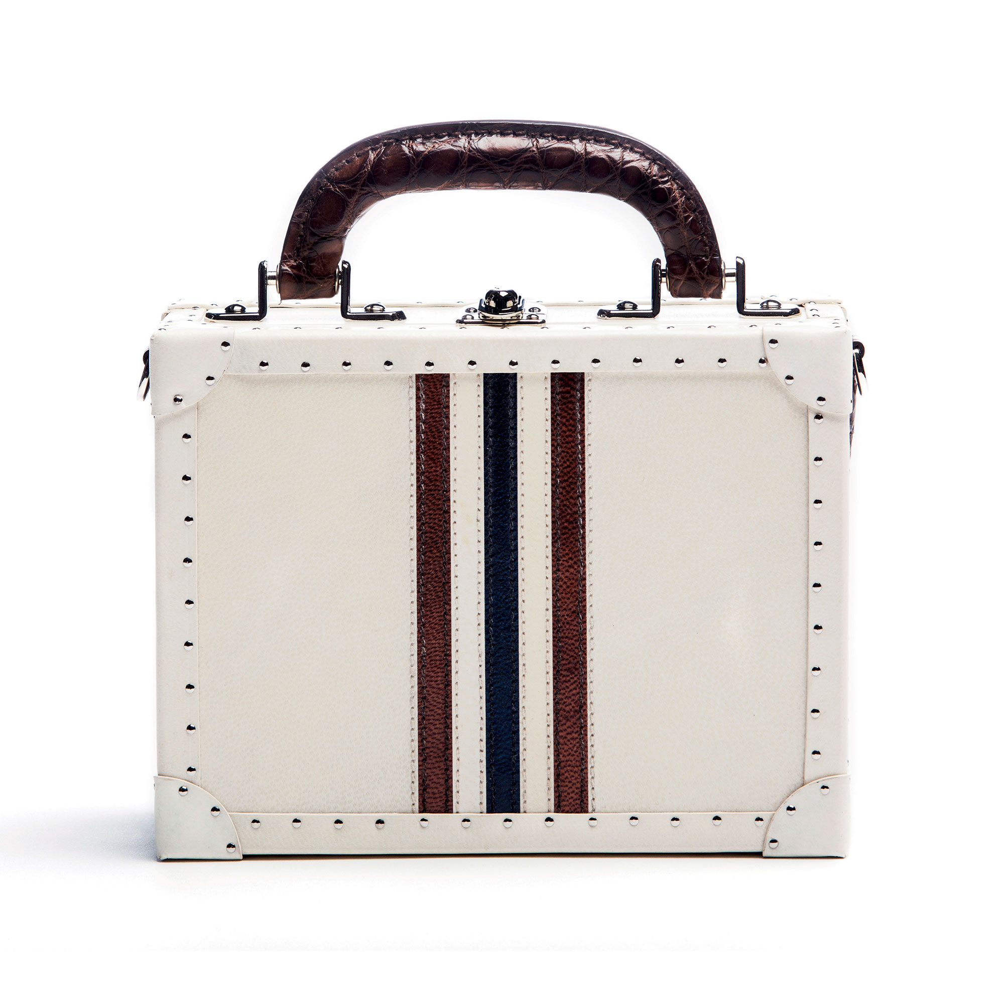 The parchment and navy, brown alligator Mini Squared Bertoncina bag by Bertoni 1949 01